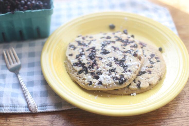 Birthday Blueberry Pancakes Recipe - light, fluffy, dairy free pancakes // GLITTERINC.COM