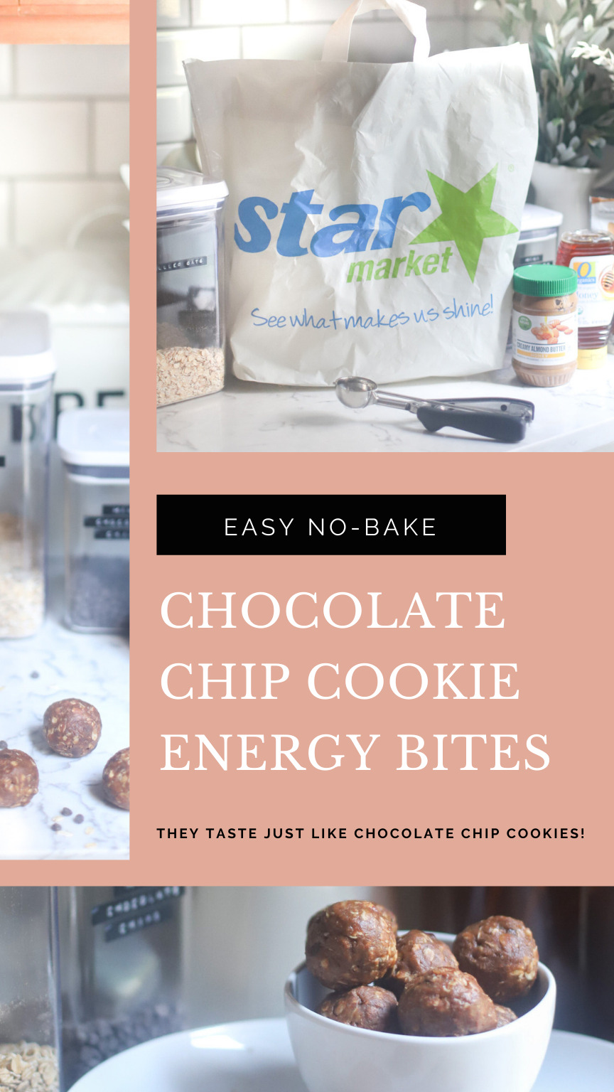 AD: Anyone else fall into that 3 o'clock afternoon slump, craving something sweet? I've got you covered! I've teamed up with Star Market to bring you our favorite CHOCOLATE CHIP COOKIE ENERGY BITES! These easy no-bake cookie balls are full of healthier ingredients like gluten-free oats, almond butter, and plant-based protein powder; and bonus: they taste just like chocolate chip cookies! Grab the #recipe today on GLITTERINC.COM. #OOrganics #StarMarket
