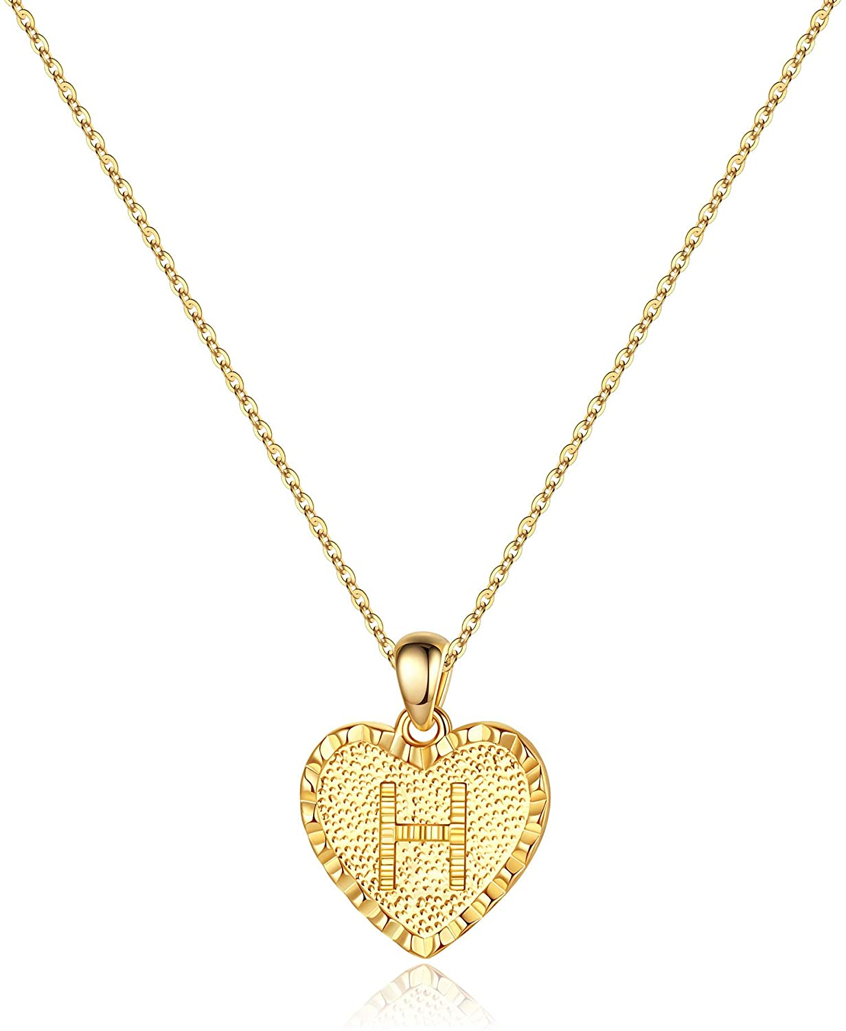 WEEKLY FINDS - Including this Heart Initial Necklace for Women - 14K Gold Filled Dainty Heart Pendant Initial Letter Necklaces, Handmade Engraved Alphabet Monogram Necklaces Jewelry Gift Idea for Women Teen Girls