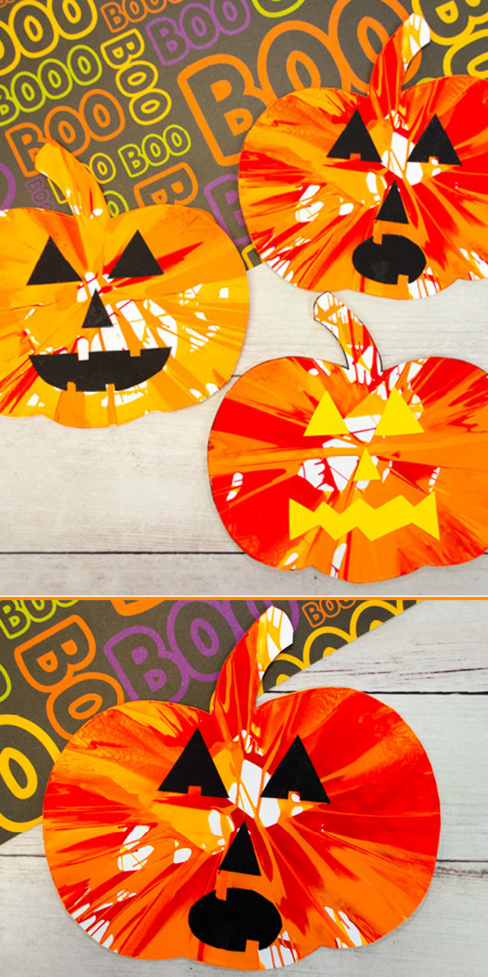 Get crafty this October and create something special with one of these 7 easy Halloween crafts and hands-on activities for toddlers and young kids! | @glitterinclexi | GLITTERINC.COM // This pumpkin spin painting is a fun and easy Halloween activity that kids of all ages will love to do!