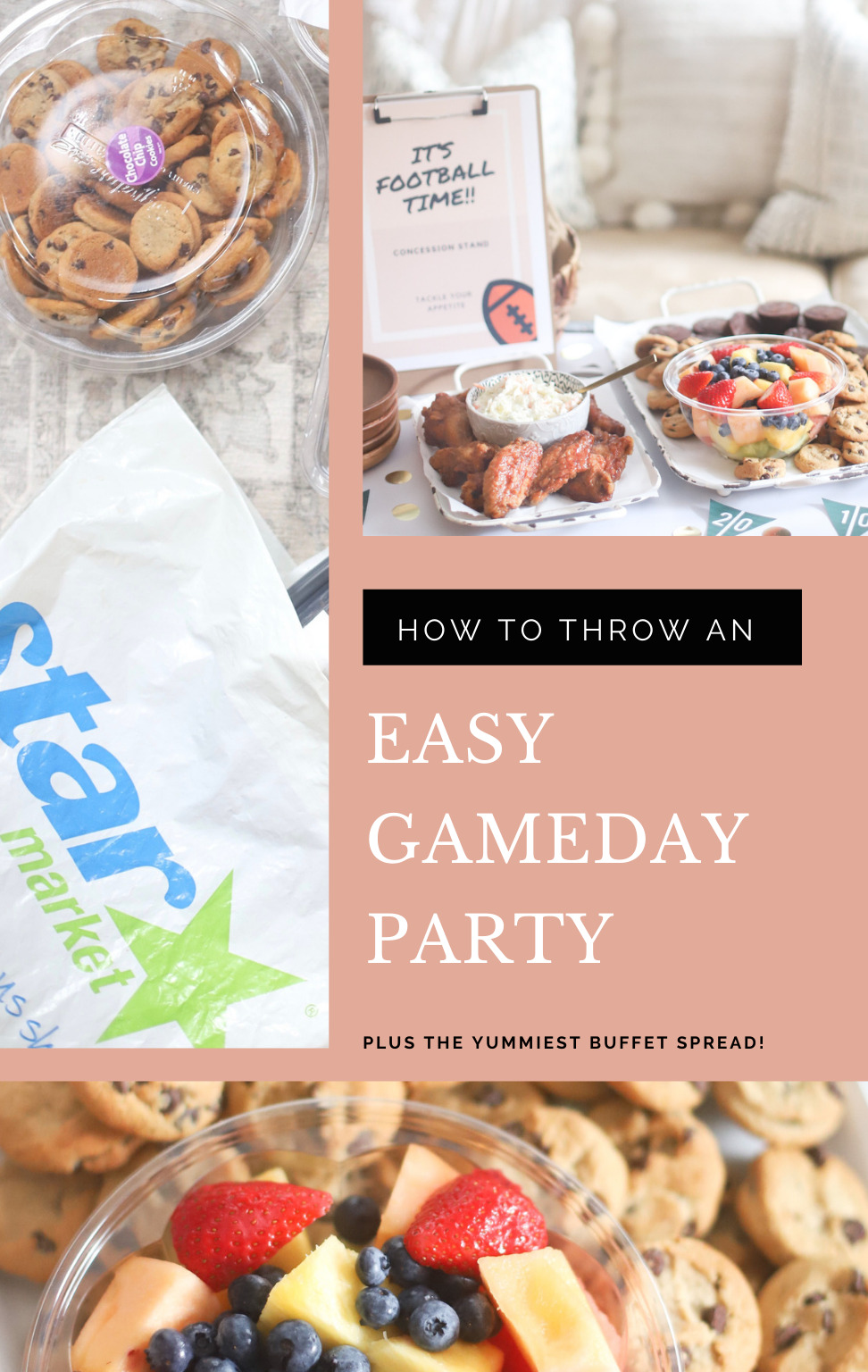 AD: It's football season! Celebrate by throwing an easy gameday party at home. Gather with family and watch the game with these simple BIG GAME party tips, football party decoration ideas, and the yummiest game day snacks – no cooking required – to keep your crew happy and well fed. #StarMarket
