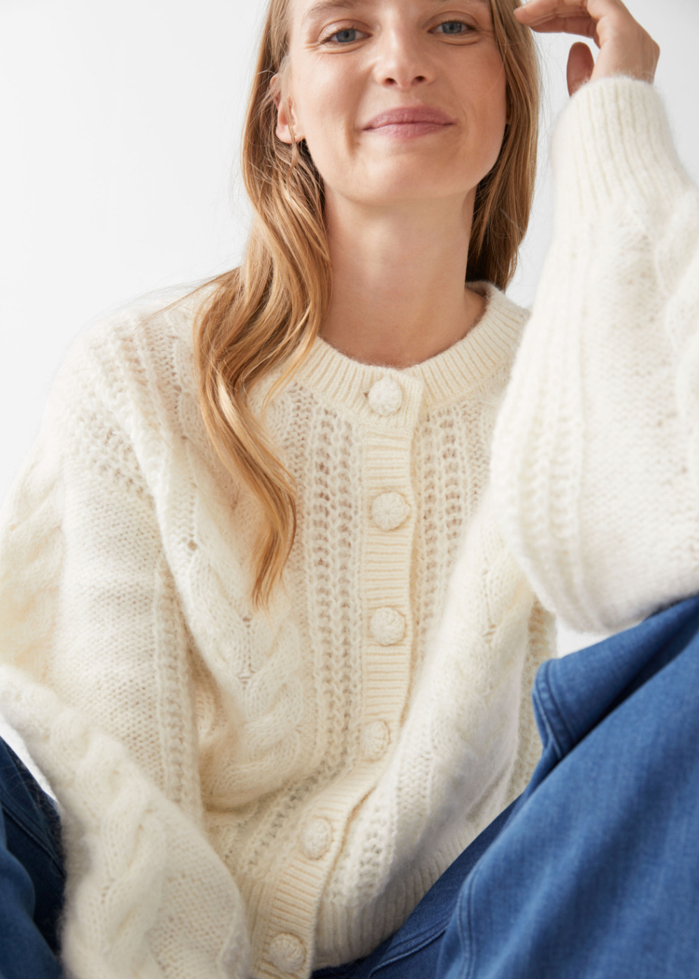 WEEKLY FINDS + & Other Stories Cropped Button Up Knit Sweater