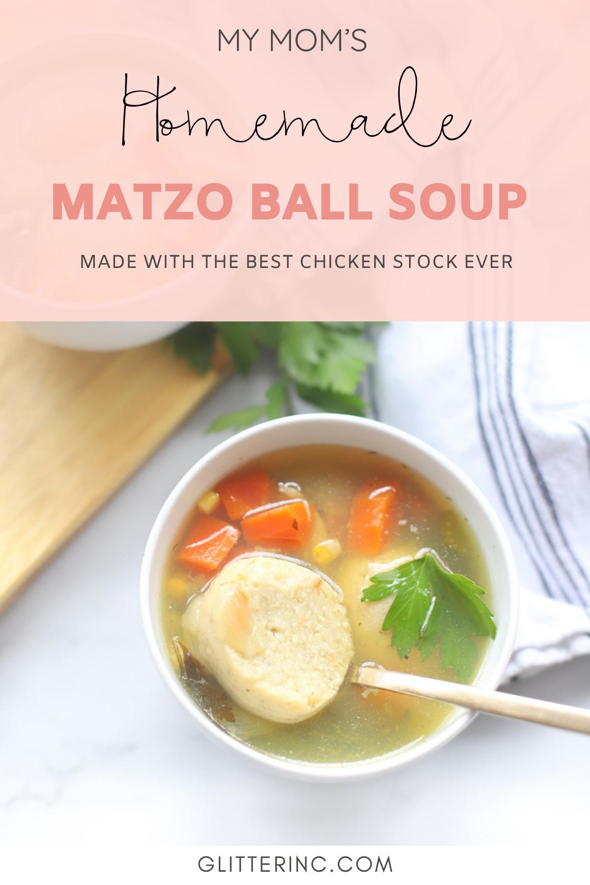 Homemade Matzo Ball Soup - Our Family Favorite Classic Jewish Chicken Stock with the Best Matzoh Balls | @glitterinclexi | GLITTERINC.COM