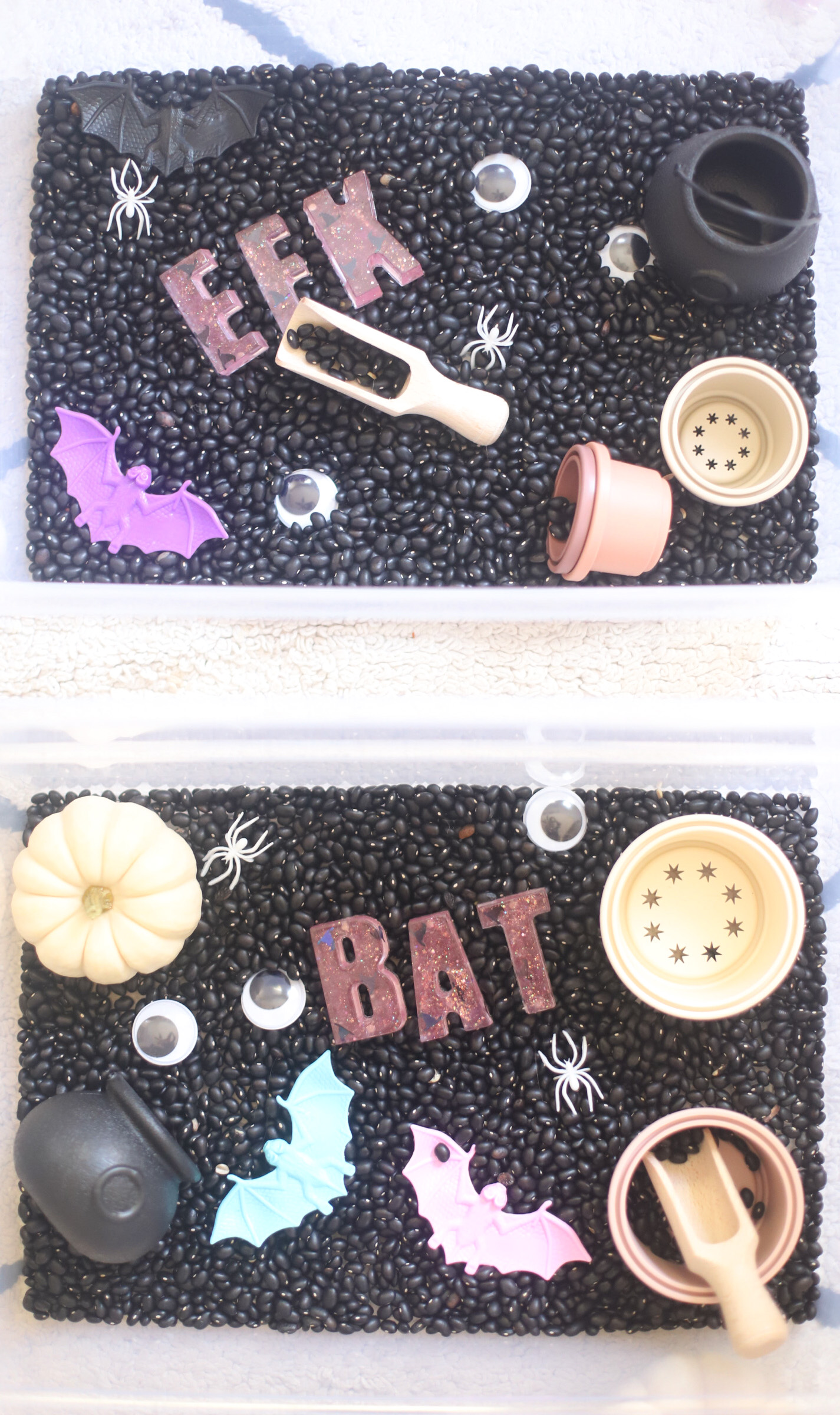 Get crafty this October and create something special with one of these 7 easy Halloween crafts and hands-on activities for toddlers and young kids! | @glitterinclexi | GLITTERINC.COM // Halloween Sensory Bin for Toddlers and Young Kids - The Perfect Not So Spooky Hands-On Craft - GLITTERINC.COM