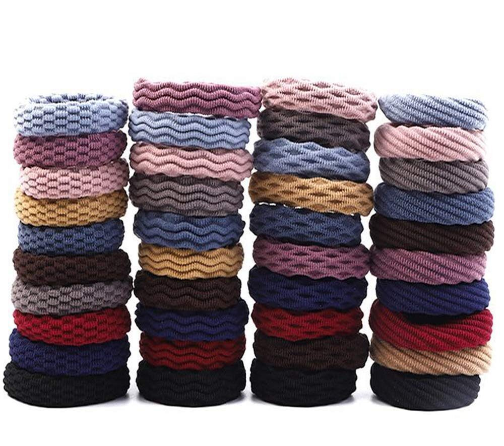 40pcs Hair Ties for Thick Hair, Hair Ties No Crease, Seamless Cotton Hair Bands for Women