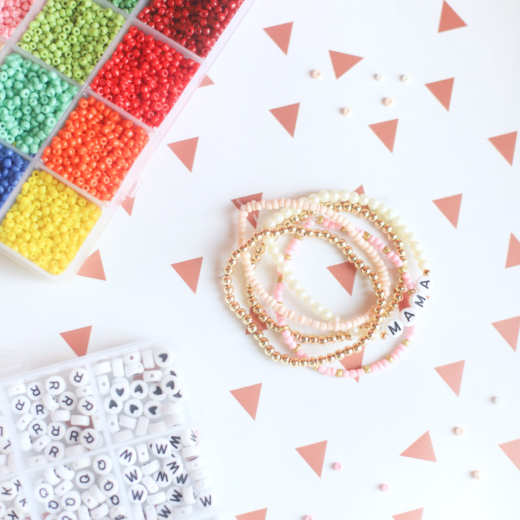 DIY Gold Bead Letter Bracelets (The Perfect Gift To Send Via Snail Mail)