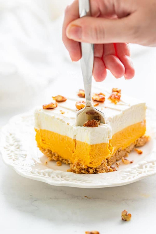 Gluten Free Pumpkin Lush Cake (No Bake Dessert)