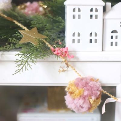 DIY Festive Embellished Pom Pom Garland