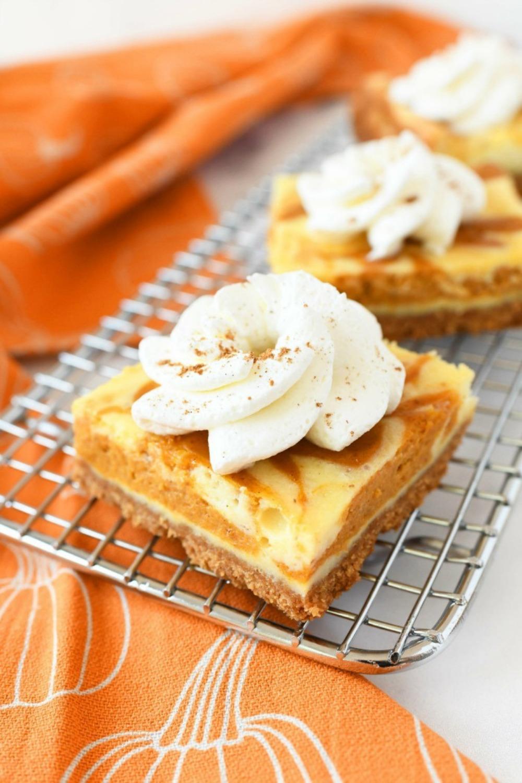 Easy Pumpkin Swirl Cheesecake Bars