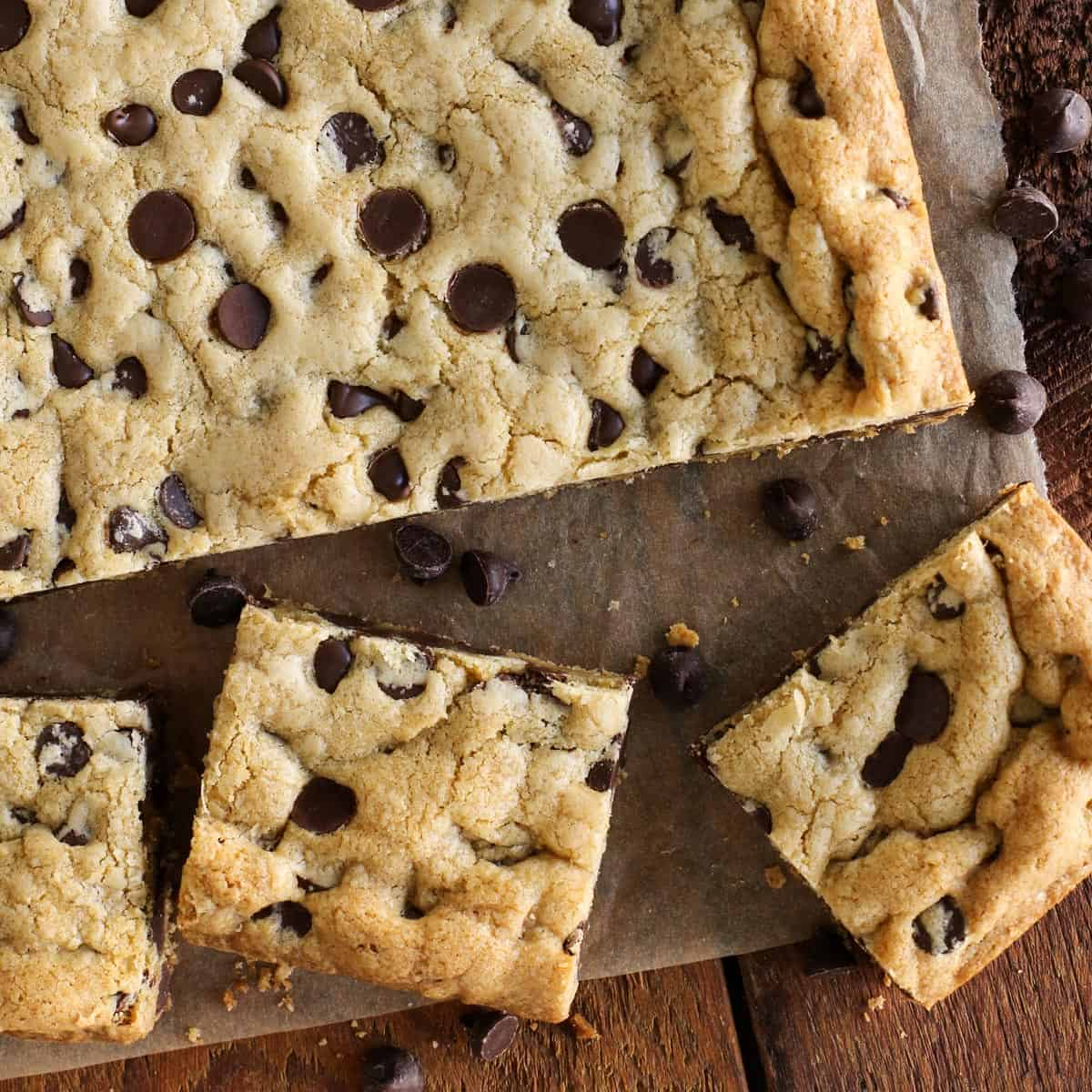 Sheet Pan Chewy Chocolate Chip Cookie Bars