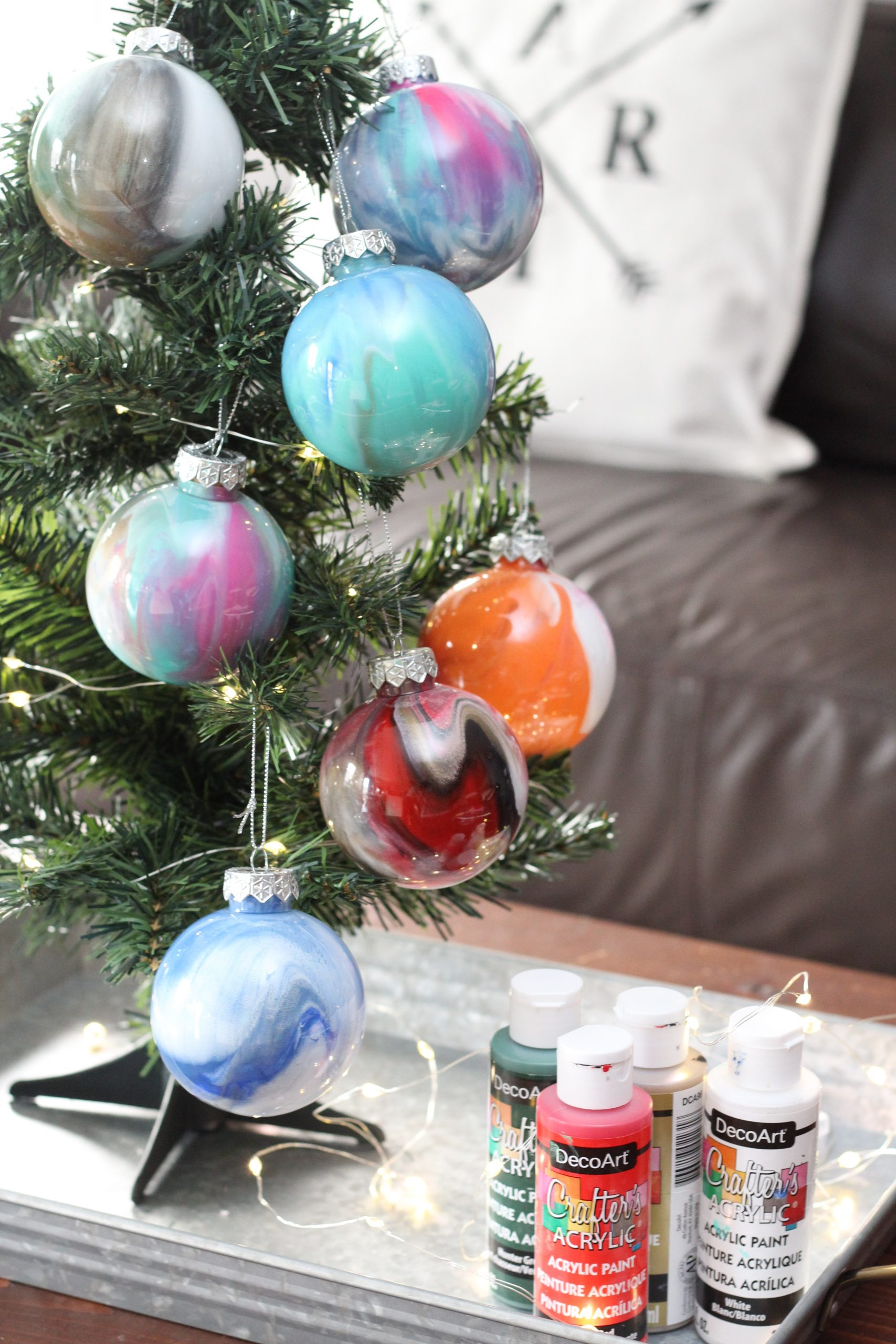 DIY Paint Swirl Ornament Balls