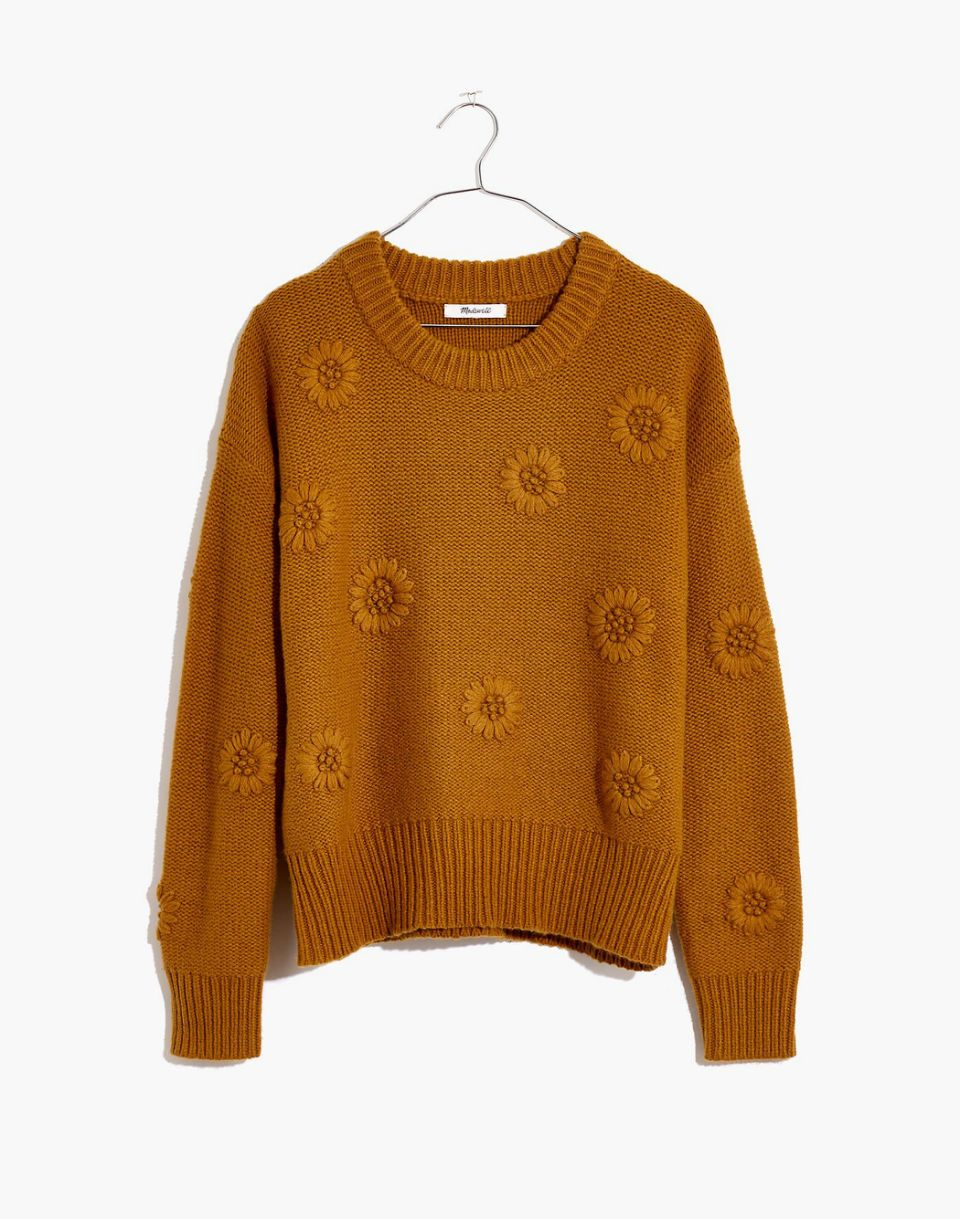Weekly Finds + Jessica Alba's Holiday Sweats   Madewell Flower Embroidered Pullover Sweater