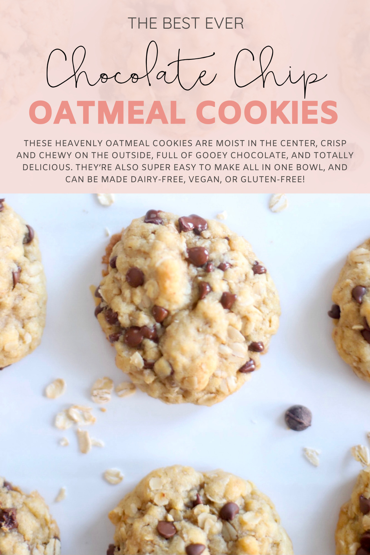Hands down our very favorite oatmeal chocolate chip cookies, these heavenly oatmeal cookies are moist in the center, crisp and chewy on the outside, and totally delicious. They're also super easy to make all in one bowl, and can easily be made dairy-free, vegan, or gluten-free! | @glitterinclexi | GLITTERINC.COM