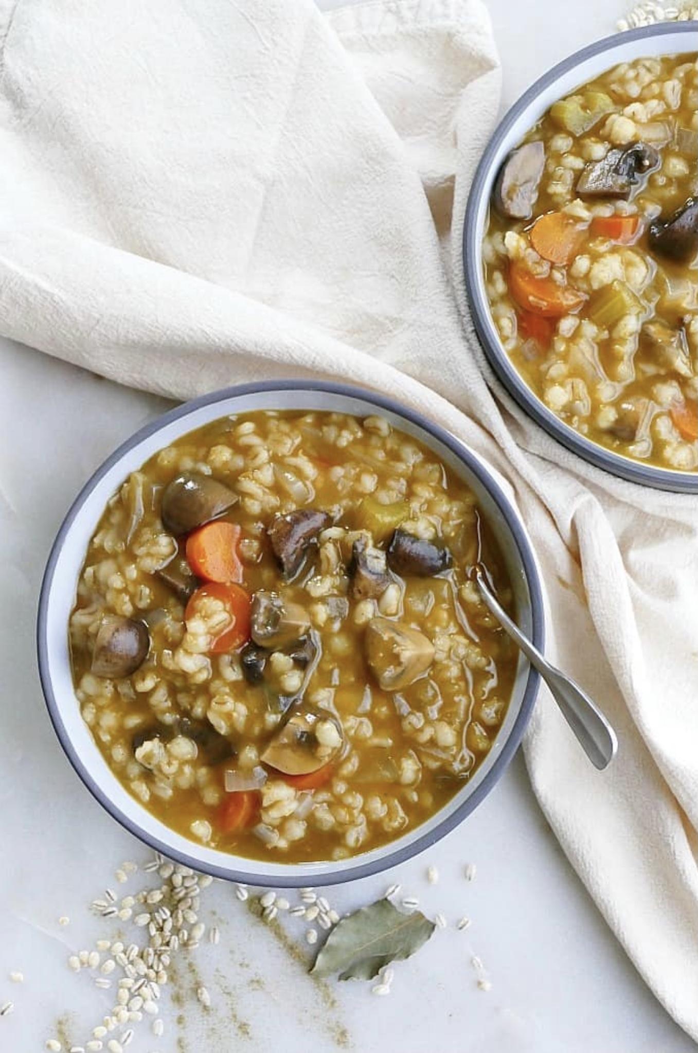 Slow Cooker Vegan Mushroom Barley Stew
