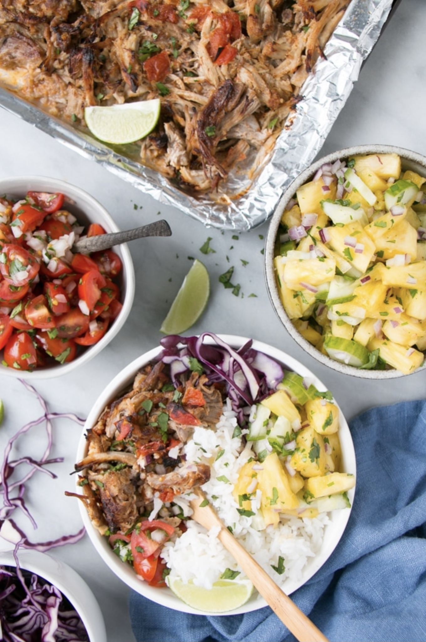 Slow Cooker Pork Carnitas Burrito Bowls