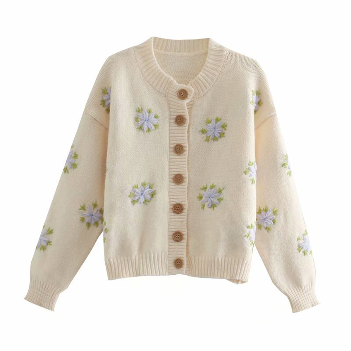 R.Vivimos Womens Cotton Crew Neck Floral Embroidery Button Down Knit Cardigan Sweater Coat