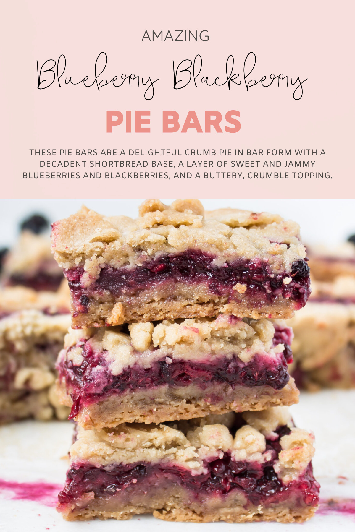 These blackberry and blueberry pie bars are basically a delightful crumb pie in bar form. The bars have a decadentshortbread base, a layer of sweet and jammy blueberries and blackberries, and a buttery, crumble topping. Perfect for a brunch or portable dessert for a party! | @glitterinclexi | GLITTERINC.COM