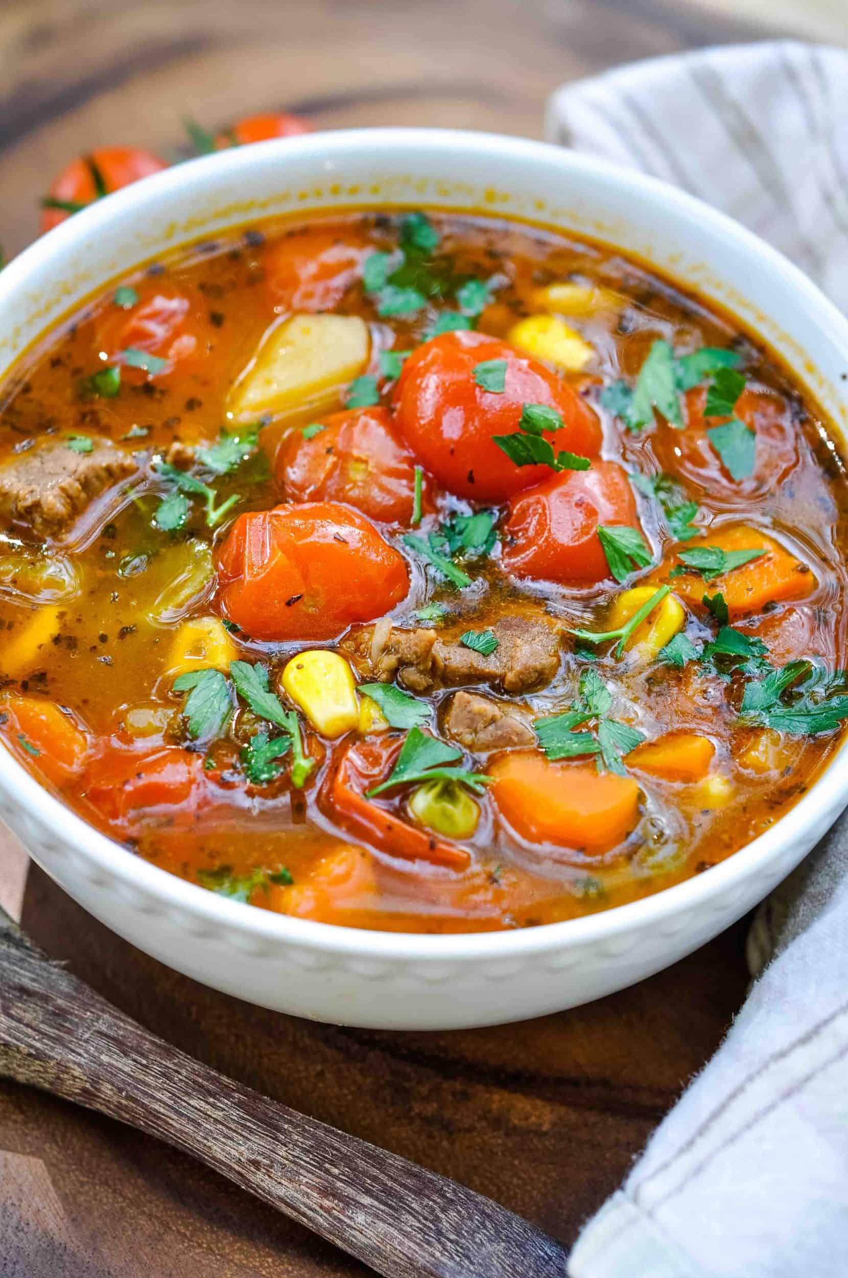 Made with tender chunks of beef, a variety of veggies and potatoes, plus super-sweet cherry tomatoes, this soup is cold weather comfort food at it's finest.