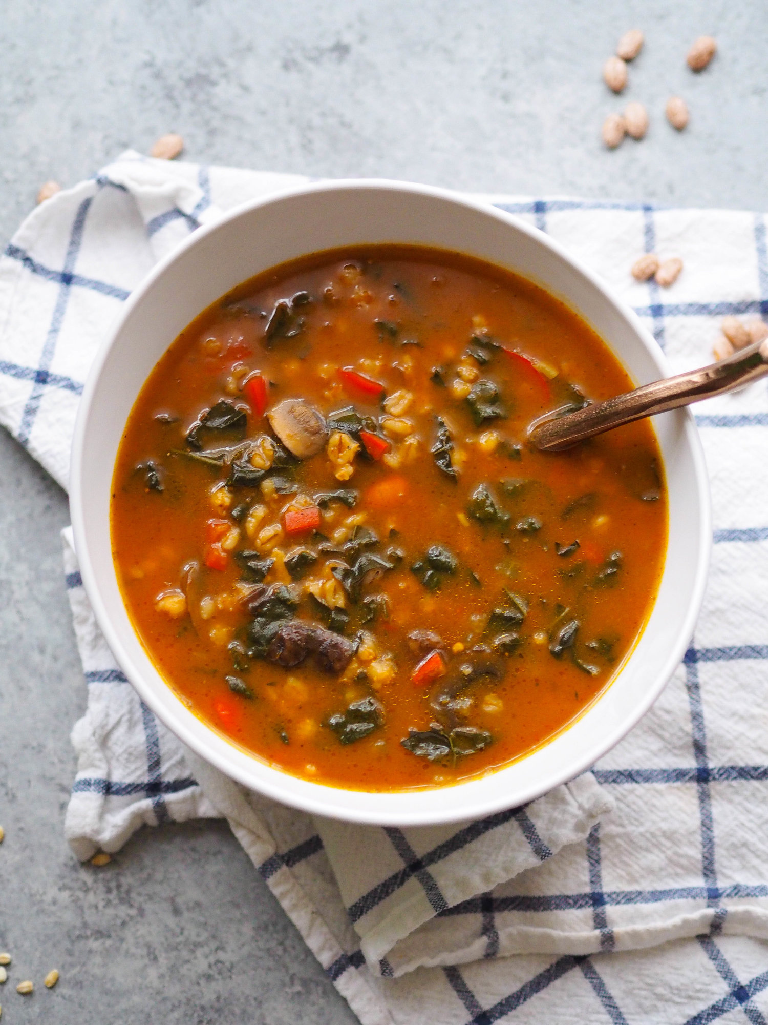 Instant Pot Vegan Mushroom Barley Soup with Pumpkin Recipe