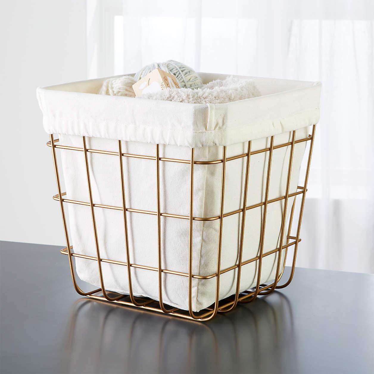 Crate & Barrel Gold Wire Cube Bin