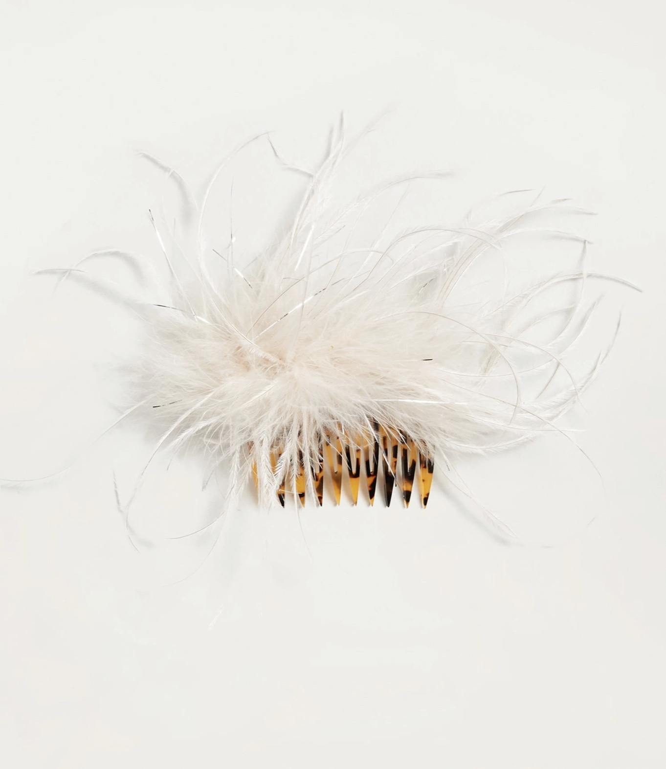 Loeffler Randall Josie Feather Hair Comb Oyster