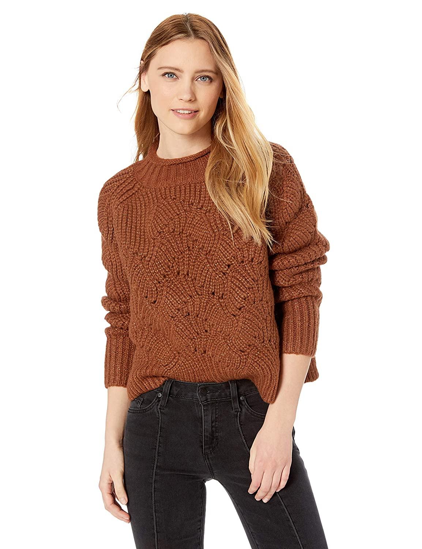 MOON RIVER Women's Metallic Mix Oversized Sweater