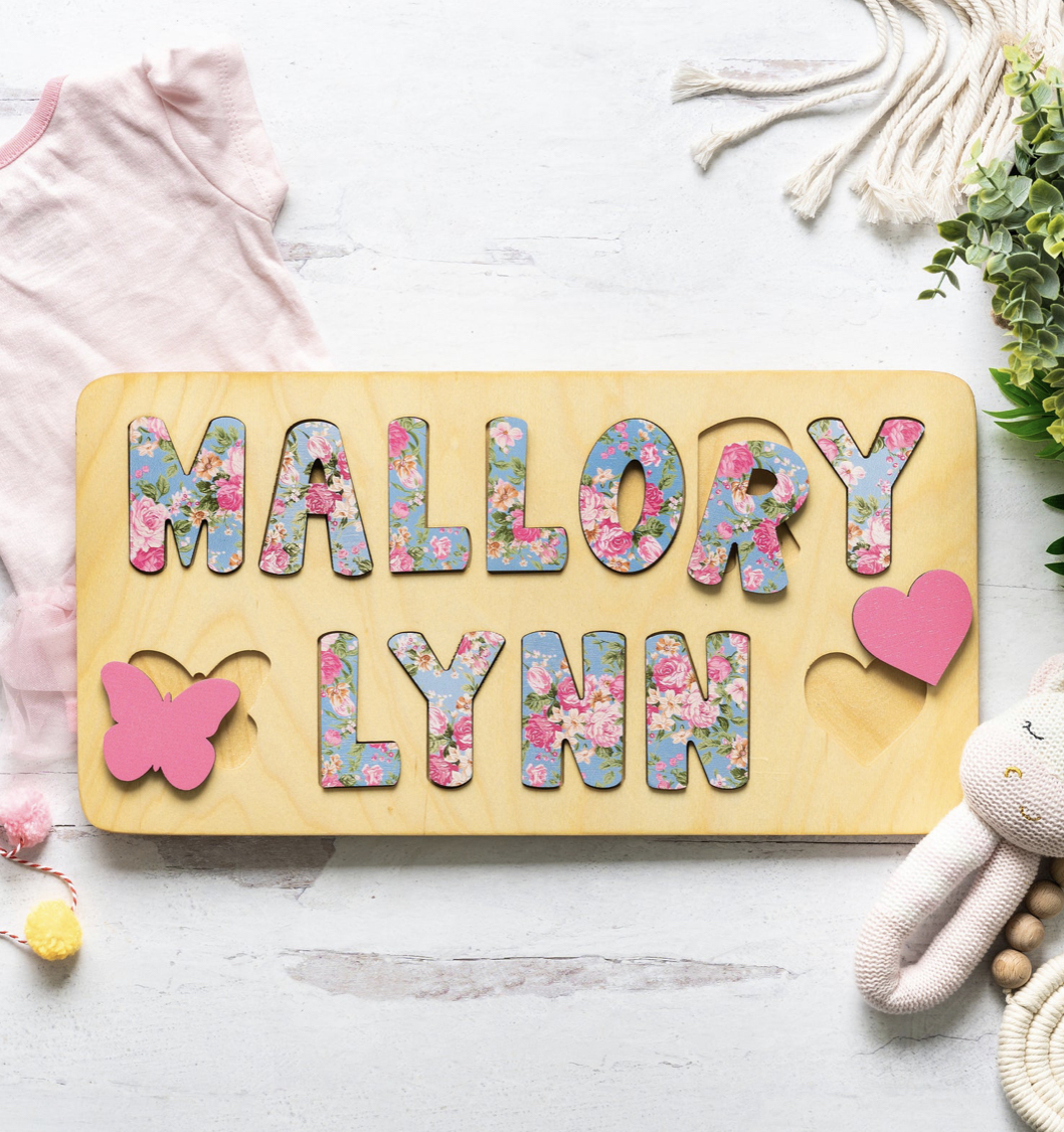 Bloom Owl Floral Wooden Name Puzzle | The Dreamiest Etsy Picks