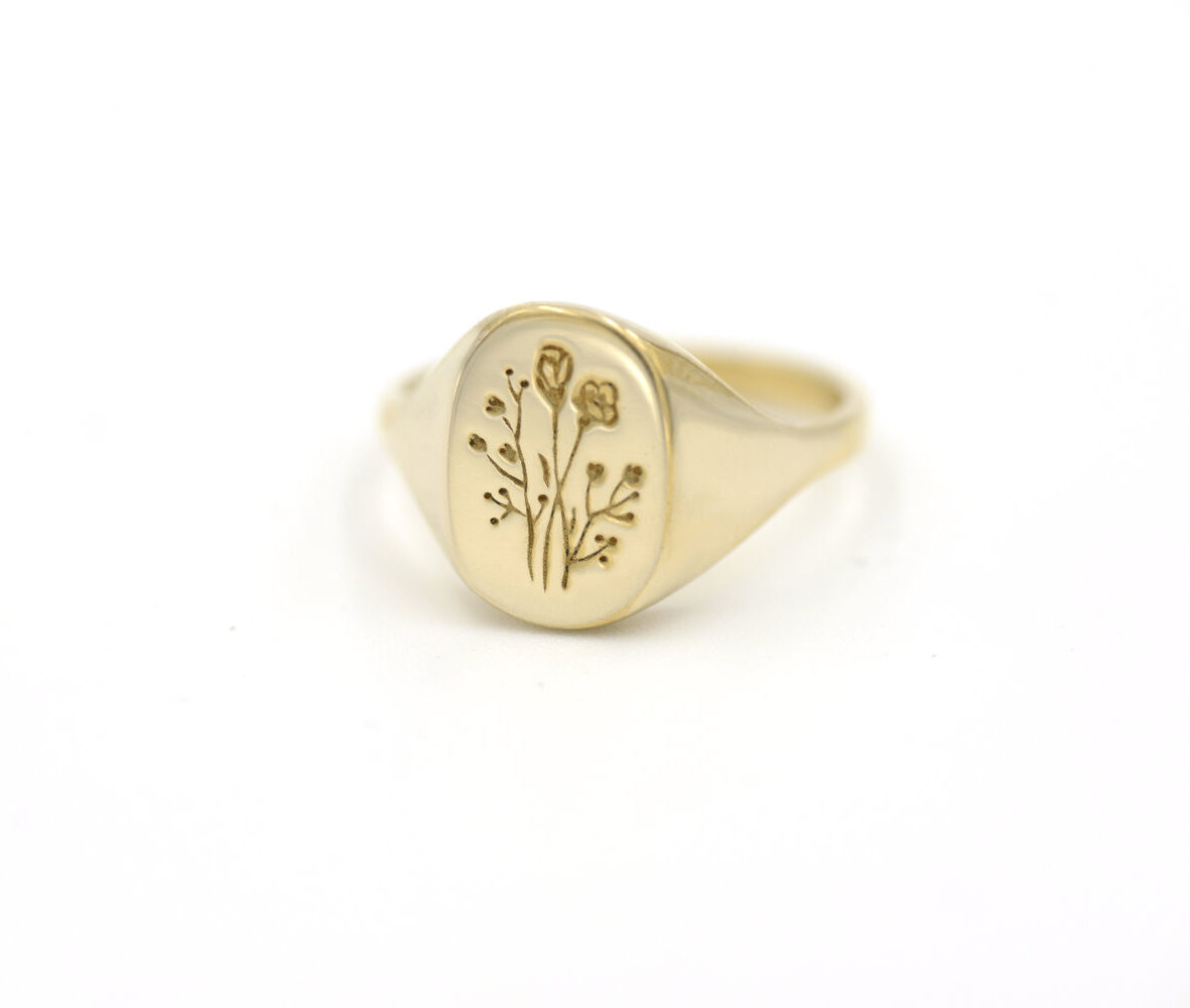 Claus Jewelry Wildflower Signet Ring