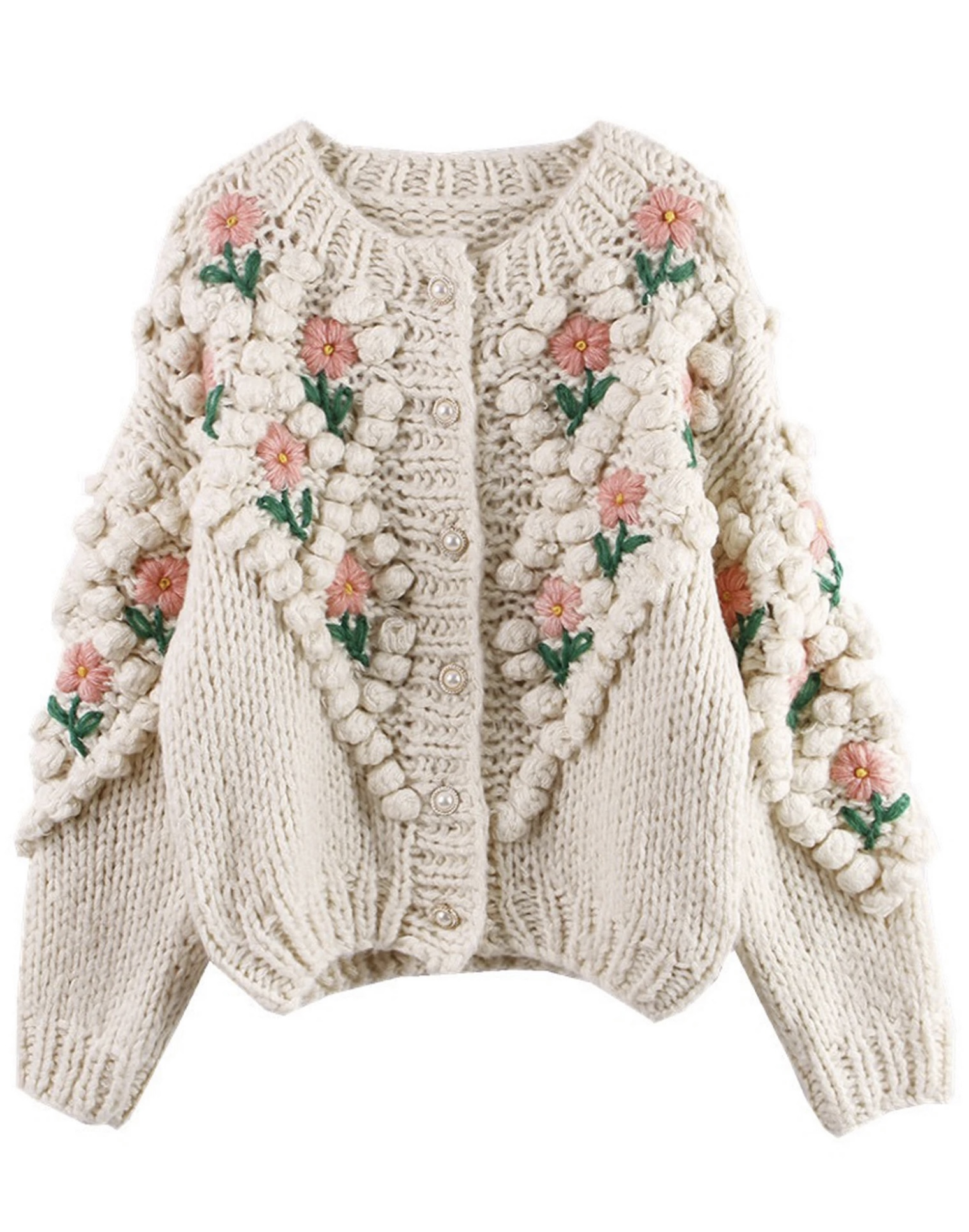 Weekly Finds + Vintage Florals  |  Goodnight Macaroon 'Laura' Floral Embroidered Pom Pom Cardigan