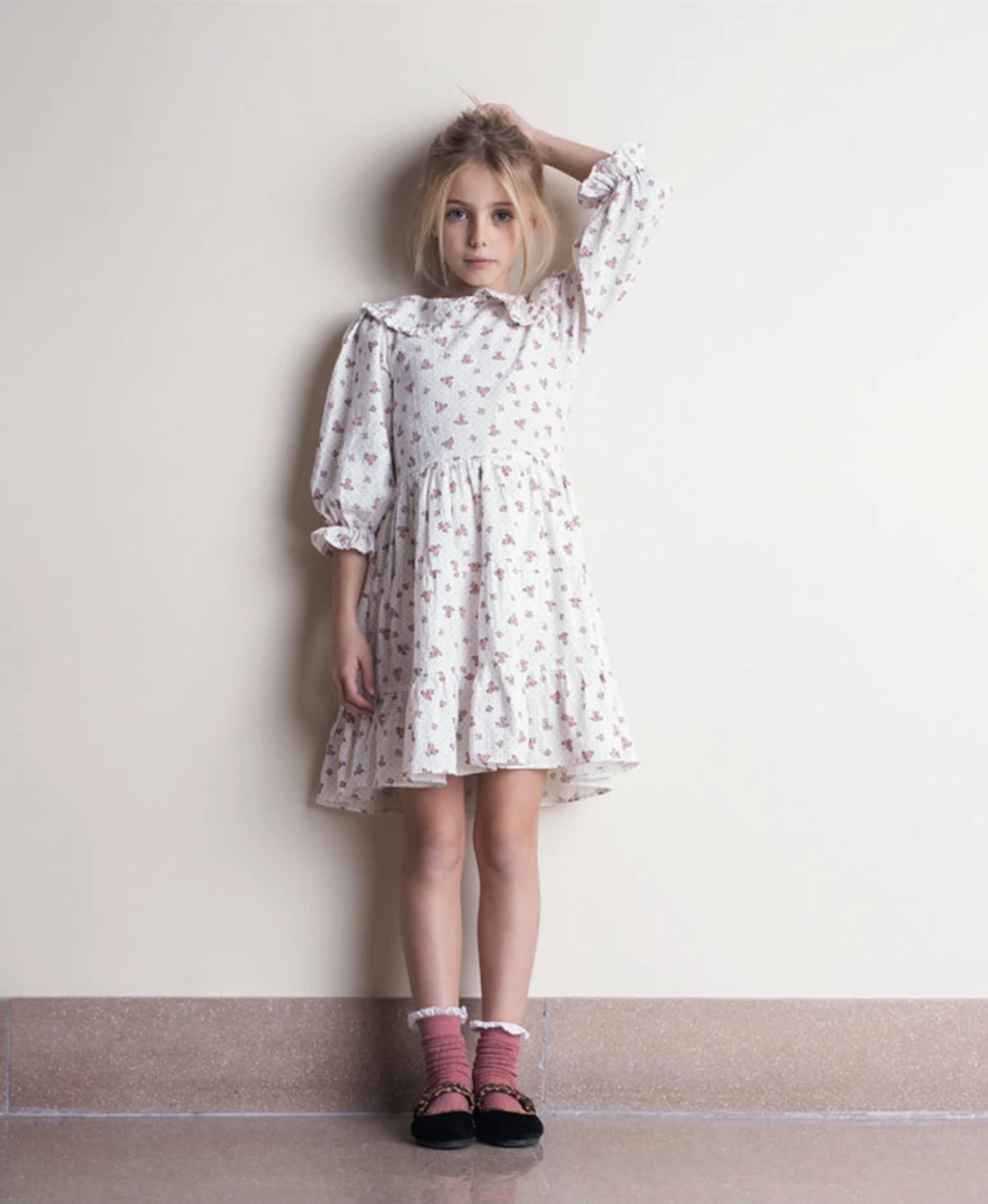 Tocotó Vintage Off White Flower Print Maxi Collar Dress