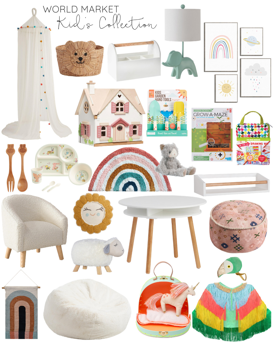 World Market Kid's Collection Favorites // The new collection is full of the cutest furniture, beautiful and fun toys and games, and stylish décor pieces and storage for your kid's play area or bedroom! | @glitterinclexi | GLITTERINC.COM