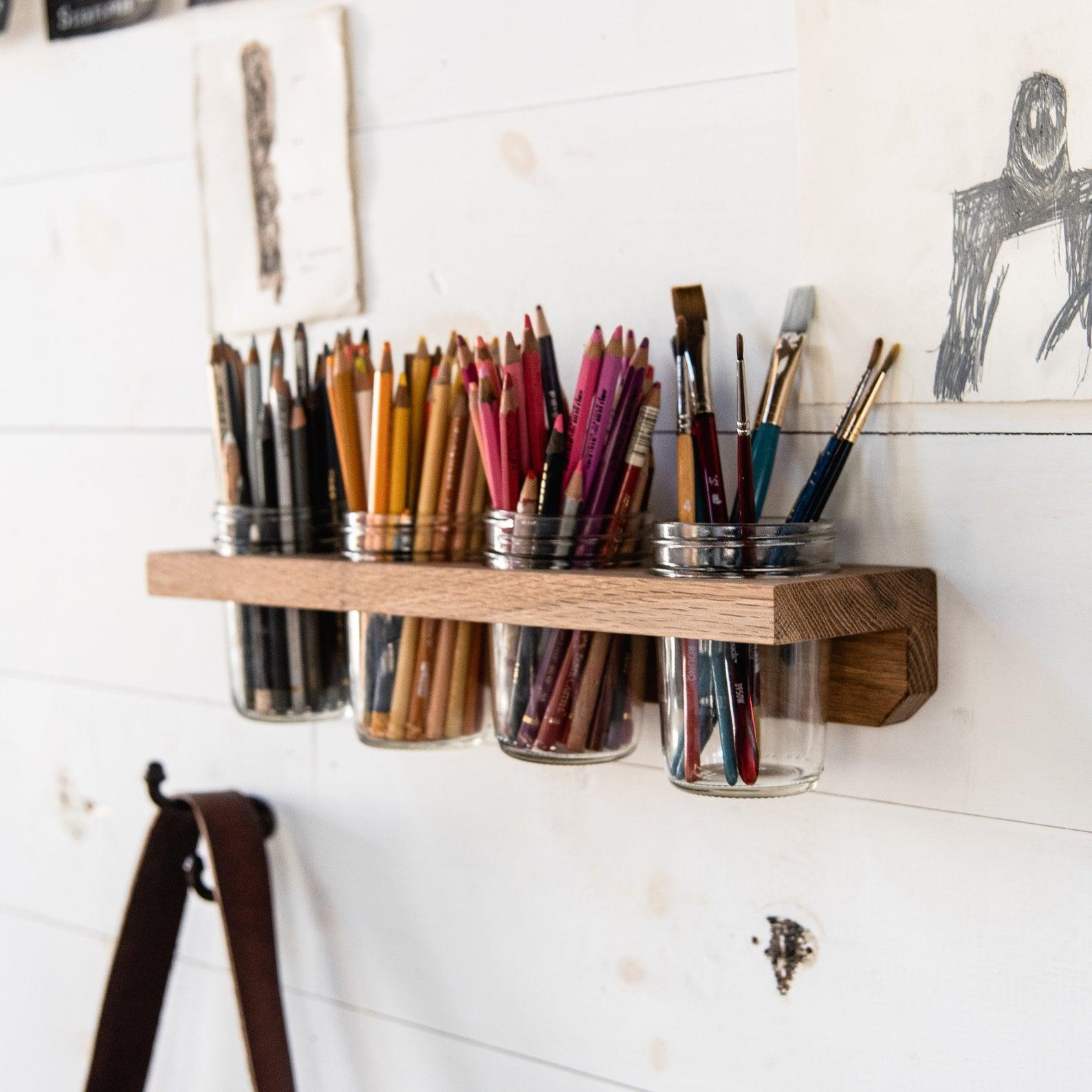 4 Mason Jar Wall Caddy, Bathroom Shelf, Hygge Kitchen Organization, Home Decor, Bathroom Storage, LANDIS CADDY by Peg and Awl