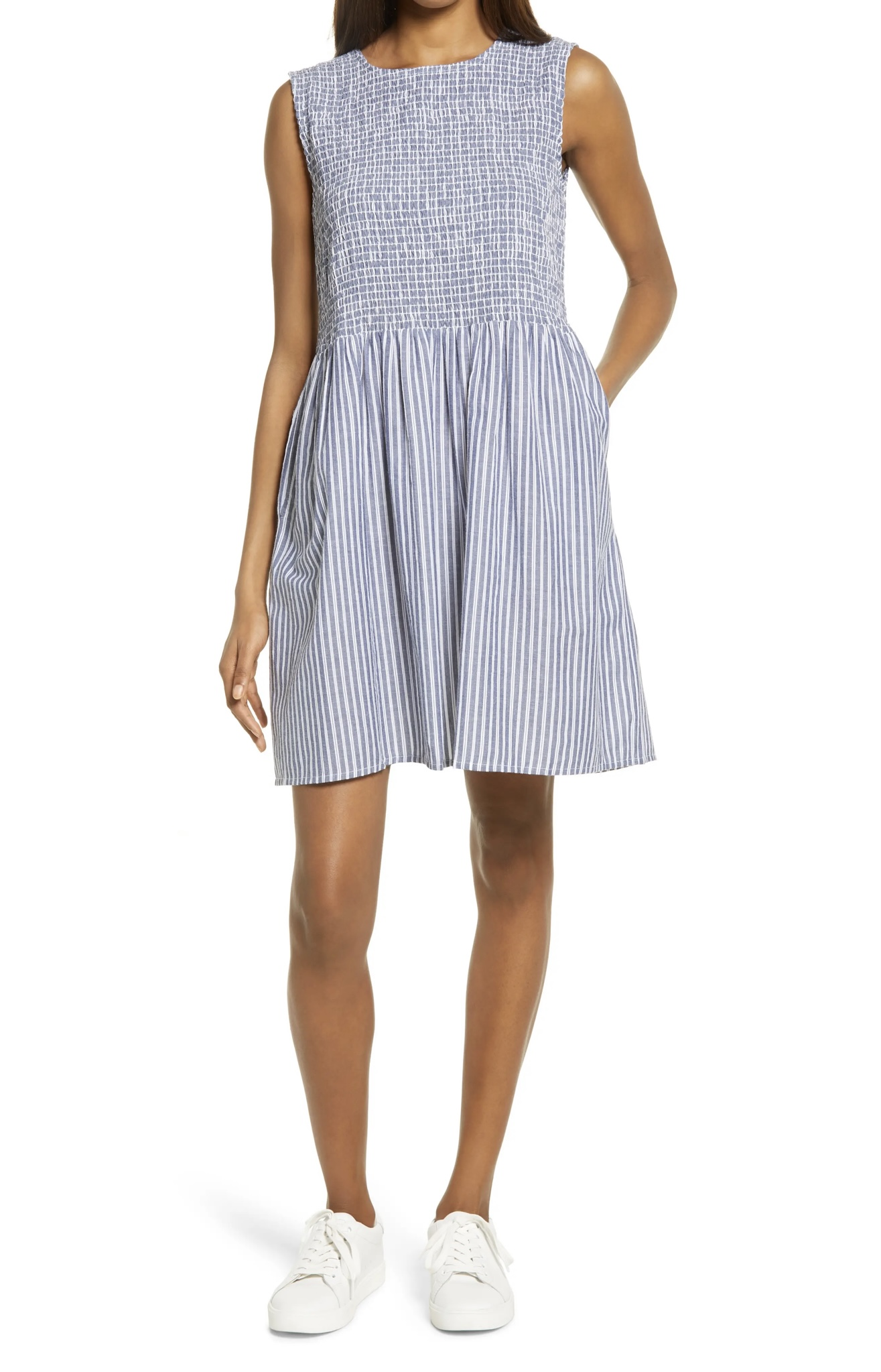FRENCH CONNECTION Rhodes Stripe Smocked Bodice Cotton Poplin Dress