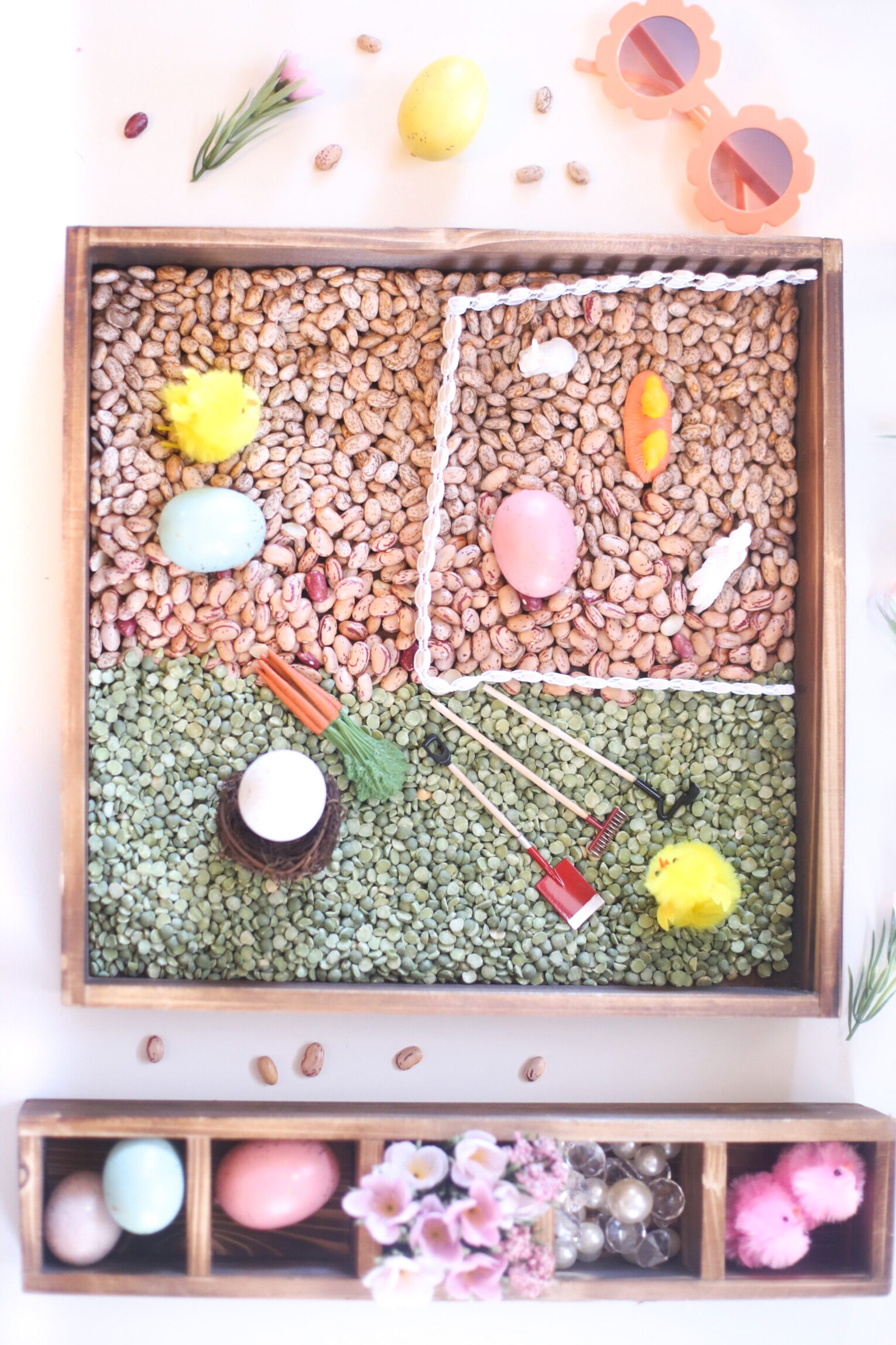 Farmhouse-Inspired Spring Sensory Bins for Kids - The Perfect Hands-On Activity for Toddlers and Beyond| @glitterinclexi | GLITTERINC.COM