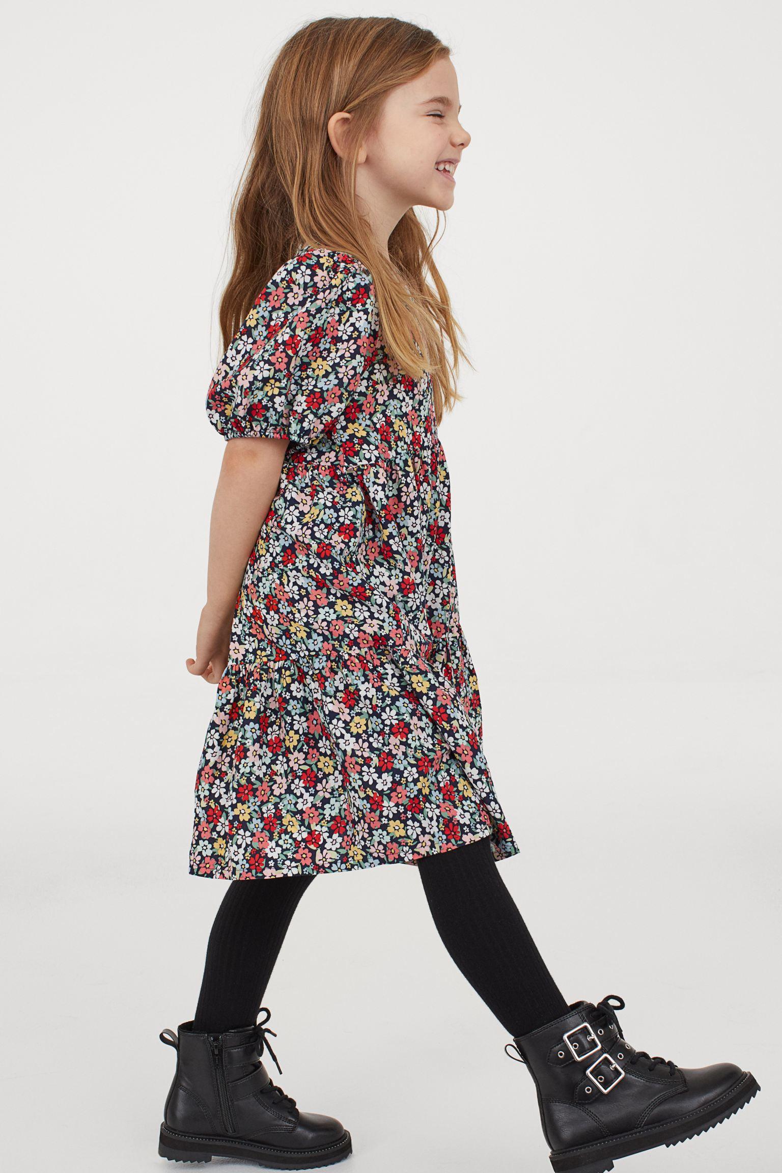 H&M Girls Puff-Sleeved Dress
