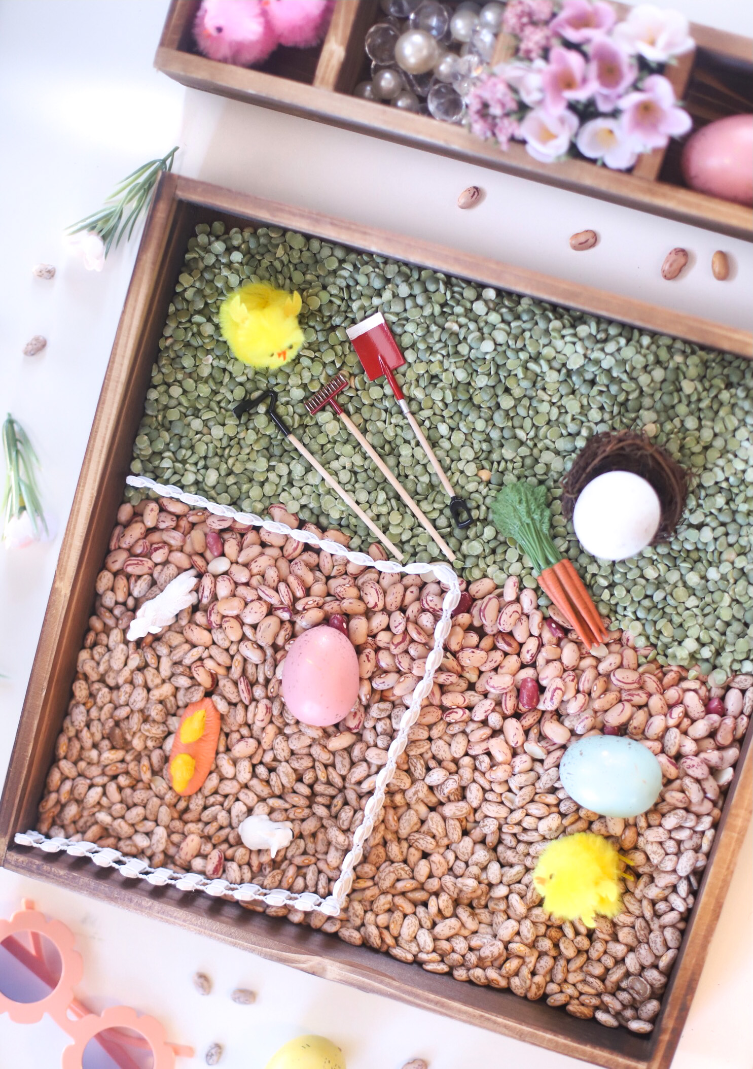 Farmhouse-Inspired Spring Sensory Bins for Kids - The Perfect Hands-On Activity for Toddlers and Beyond | @glitterinclexi | GLITTERINC.COM