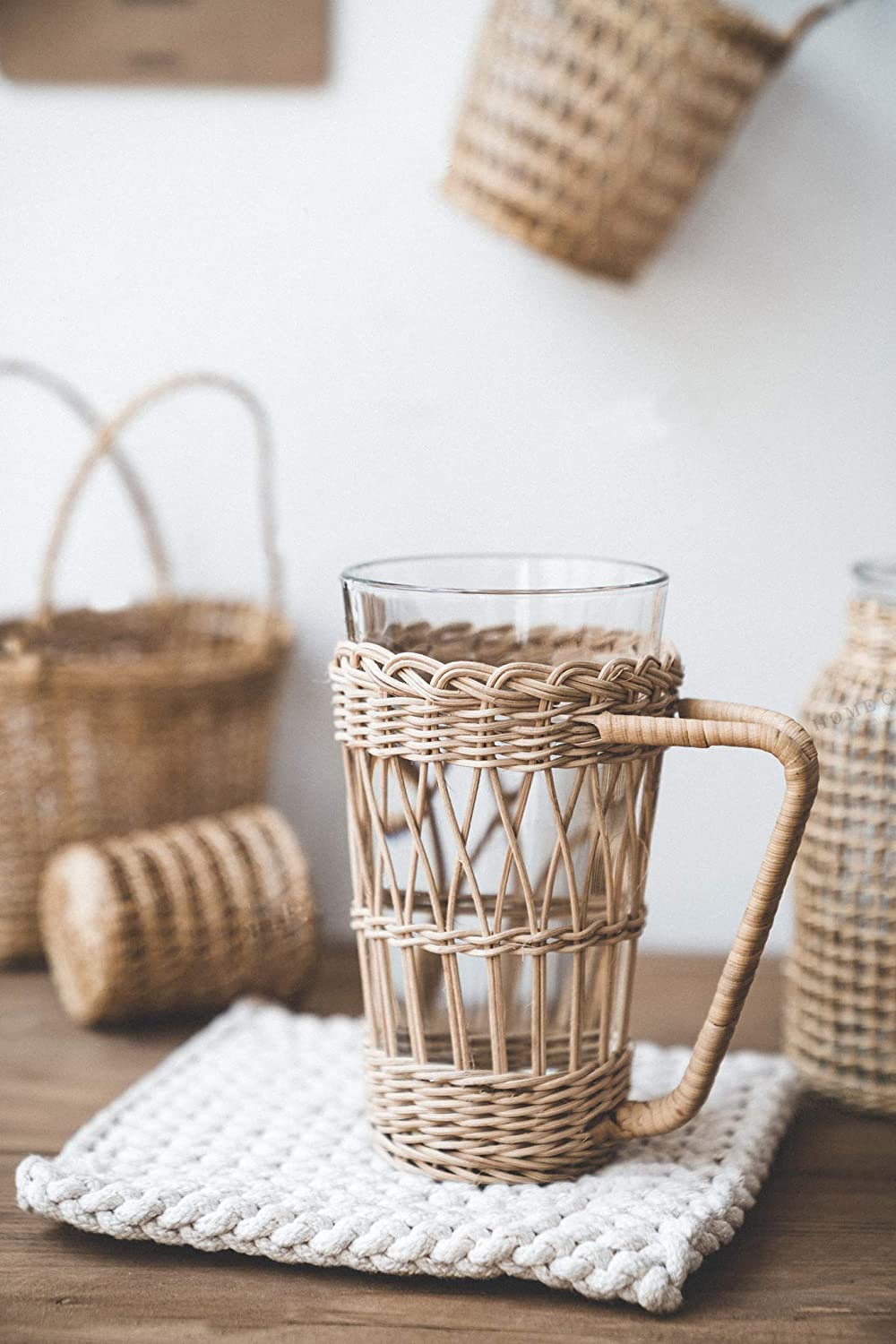 RISEON Vintage Rustic Hand-Woven Bamboo Rattan Cup Holder Coasters Drink Holder Stand Clear Glass Cup Holder with Handle for Coffee Tea Boho Home Decor Gift