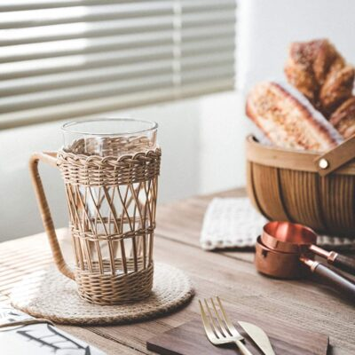 Weekly Finds - Hand-Woven Bamboo Rattan Boho Glass Cup Holder with Handle