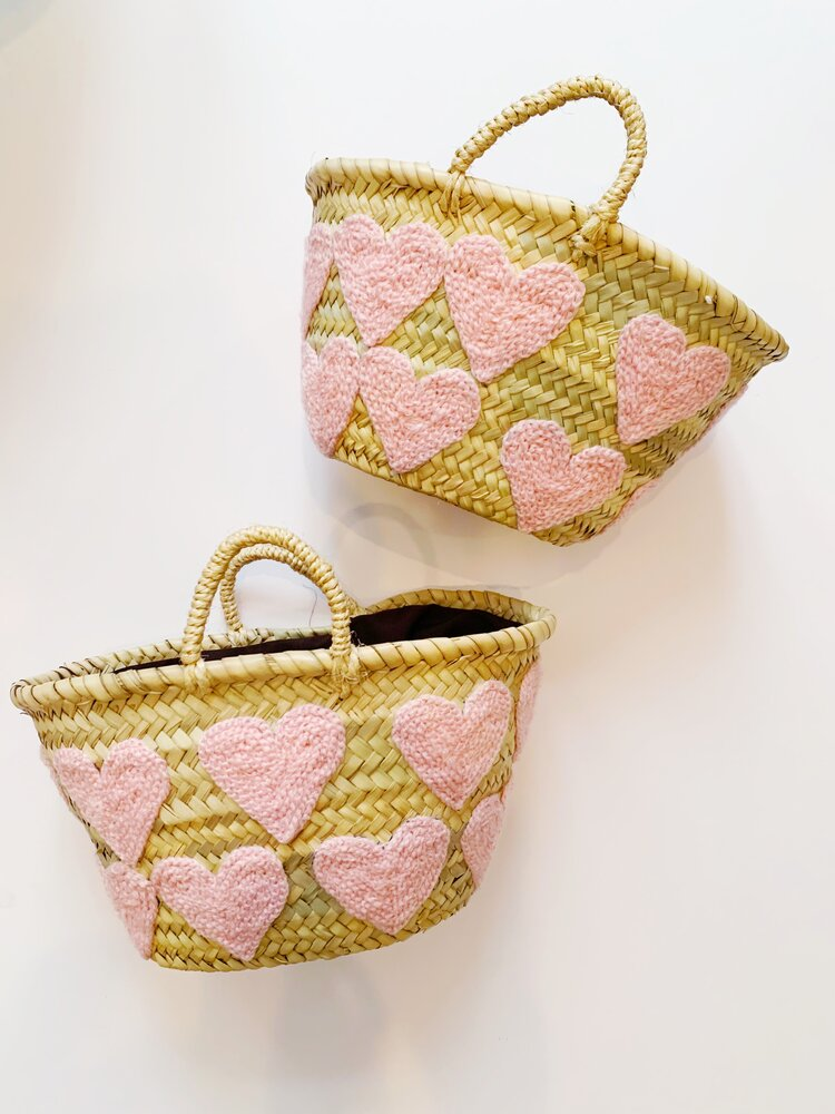 COLORES Collective Mini Light Pink Heart Basket