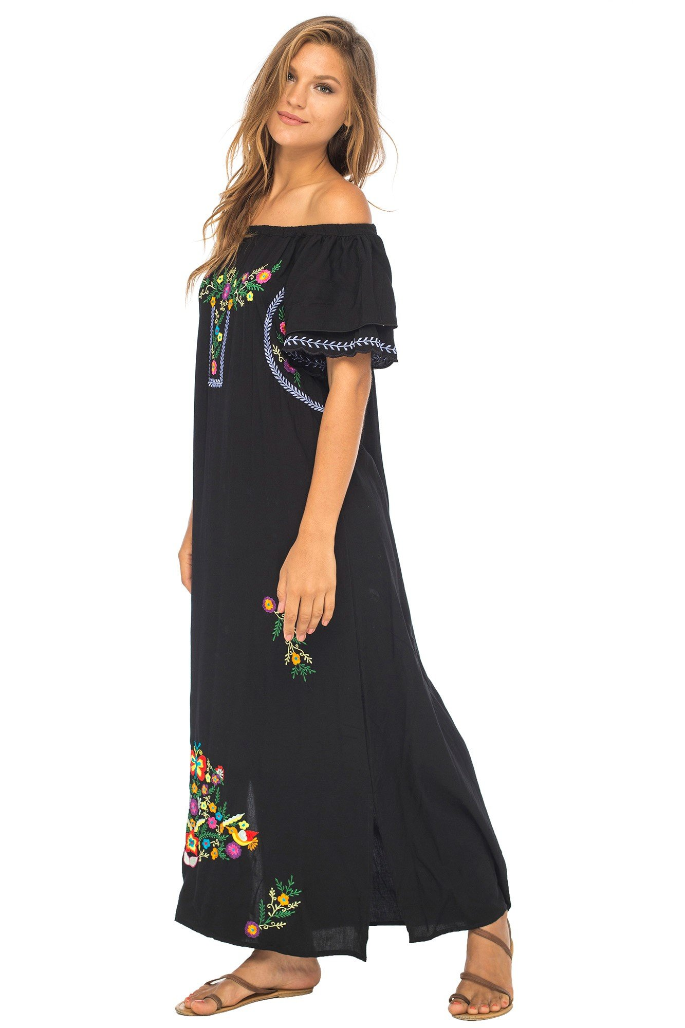 Back From Bali Womens Long Mexican Embroidered Dress, Maxi Long Summer Peasant Dresses for Women Off The Shoulder