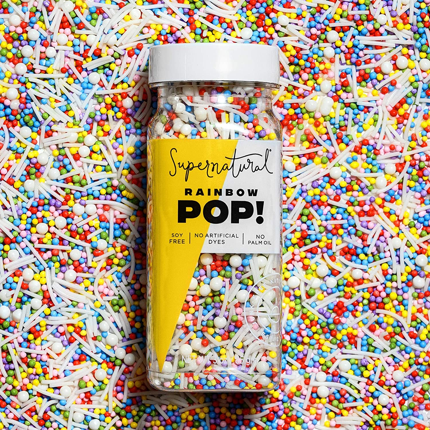 Rainbow Pop! Sprinkles by Supernatural, Nonpareil Sprinkles, Gluten-Free, Vegan, No Artificial Dyes, Soy Free for Healthy Baking, 3 oz | My New Healthy Hair Secret Weapon