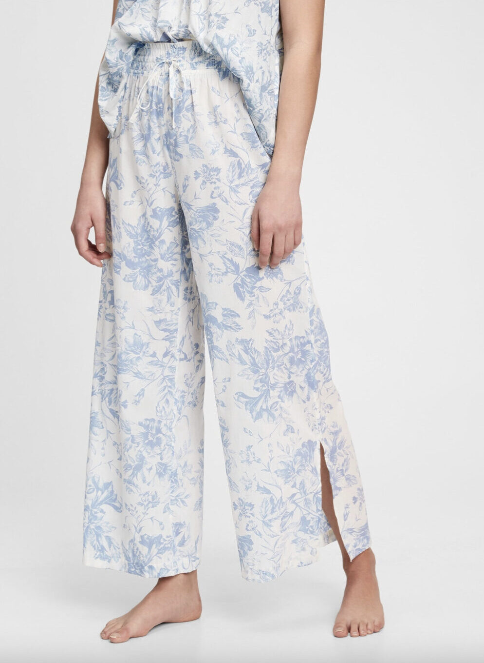 Gap Dreamwell Pajama Pants + Dreamwell Shirred Racerback Cami in Blue Floral