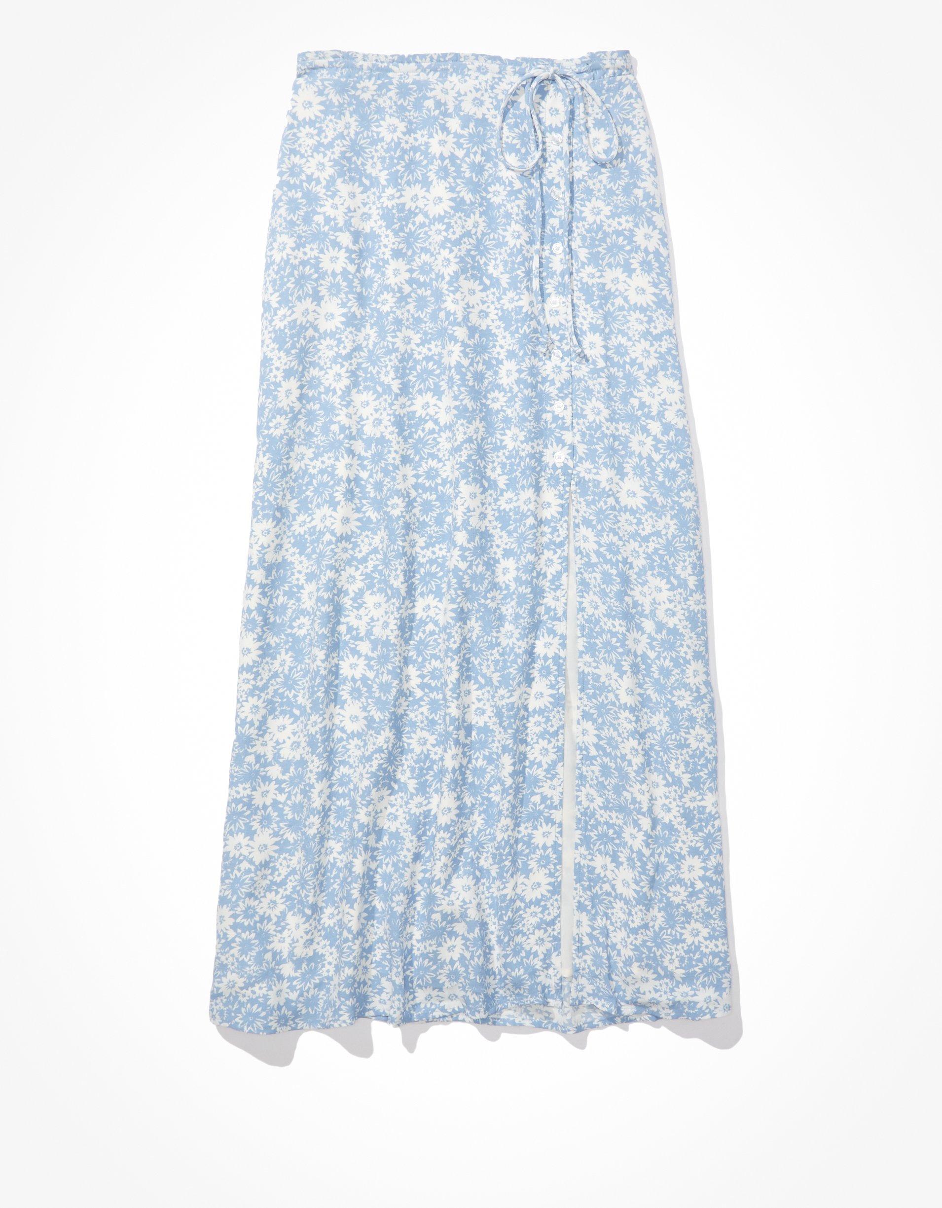 AE Floral Slip Midi Skirt