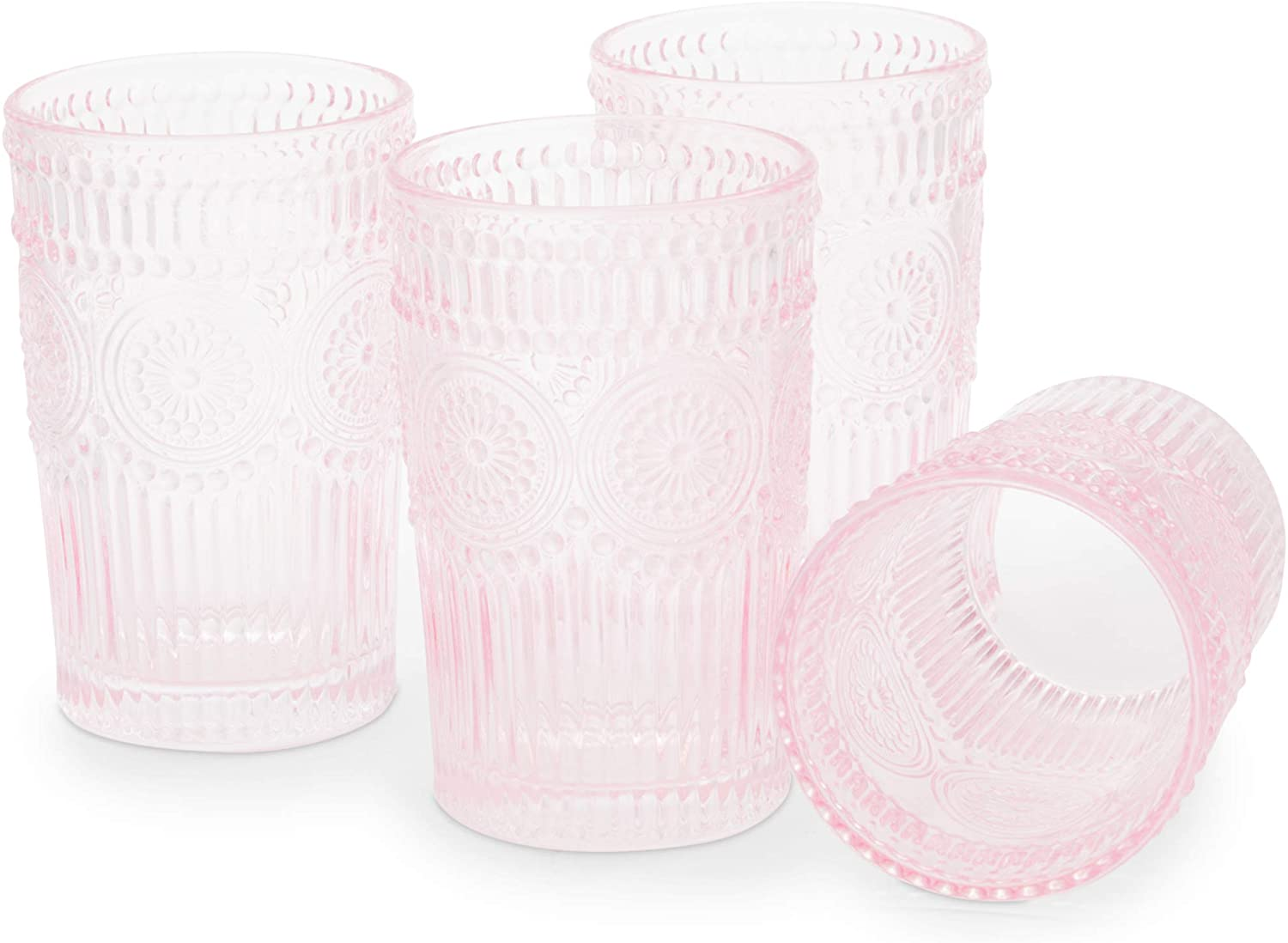 Pink Vintage Style Drinking Glasses
