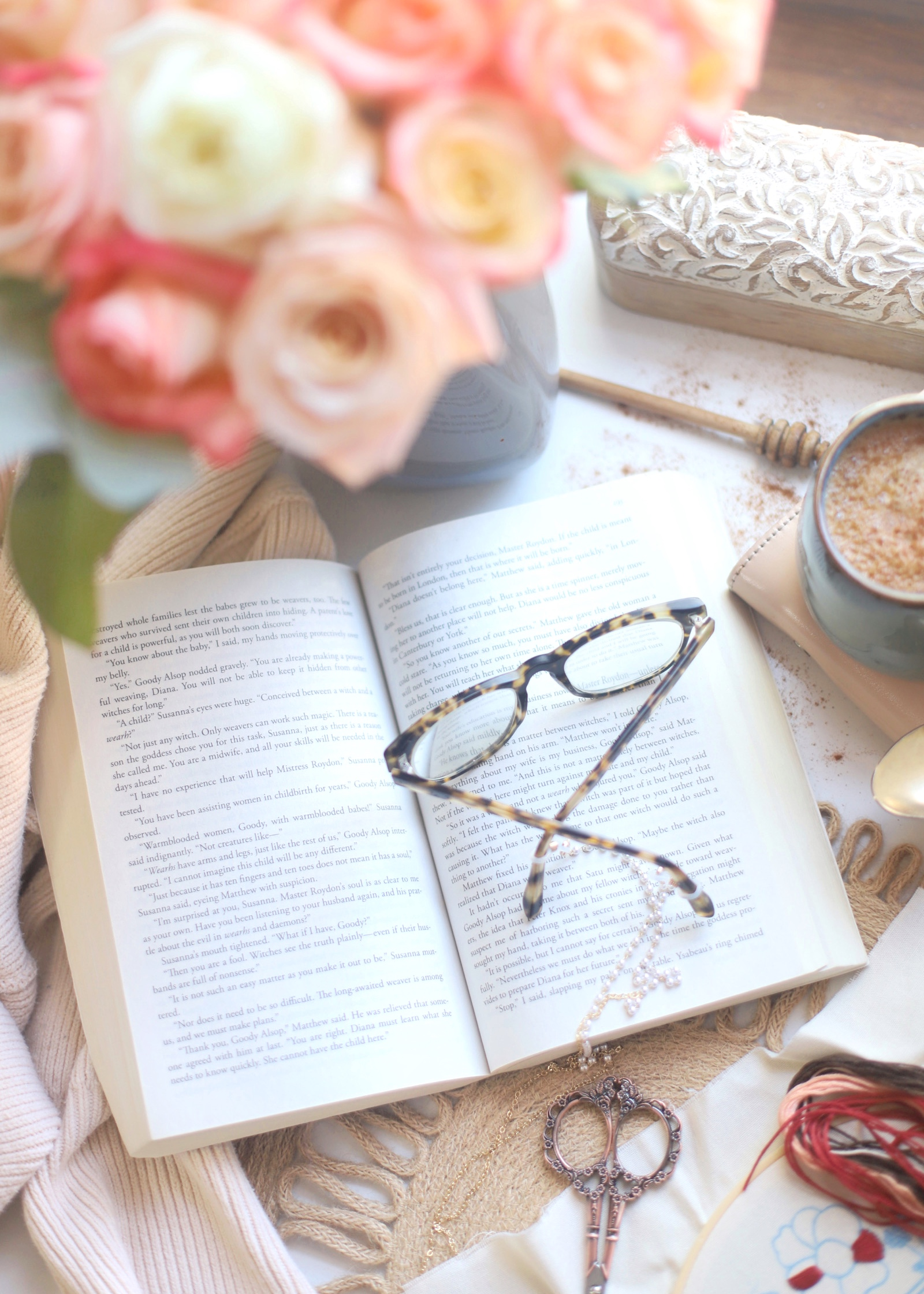 Vacation Mode - Flowers, Good Books, Embroidery, and Coffee