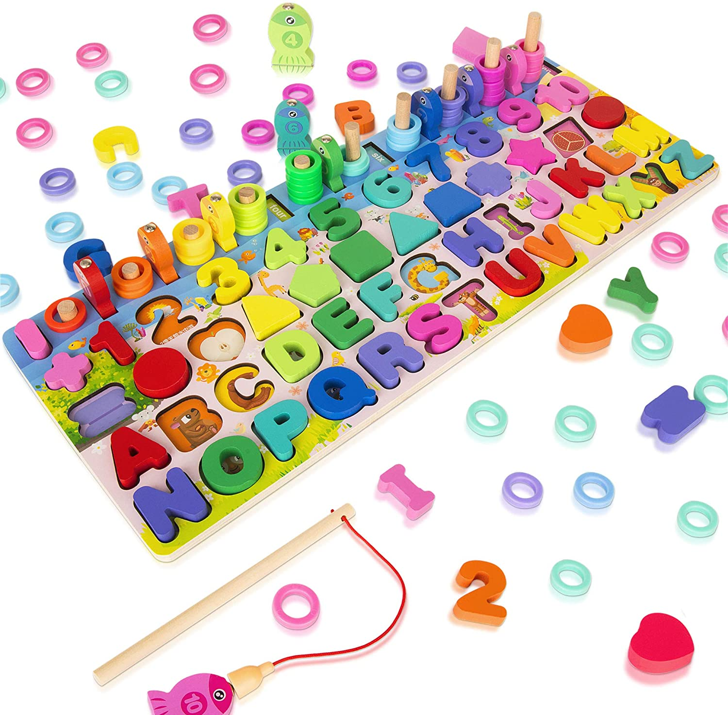 Wooden Magnetic Puzzles for Toddlers, 5-in-1 Color Alphabet Shape Number Sorting Fishing Game Toys