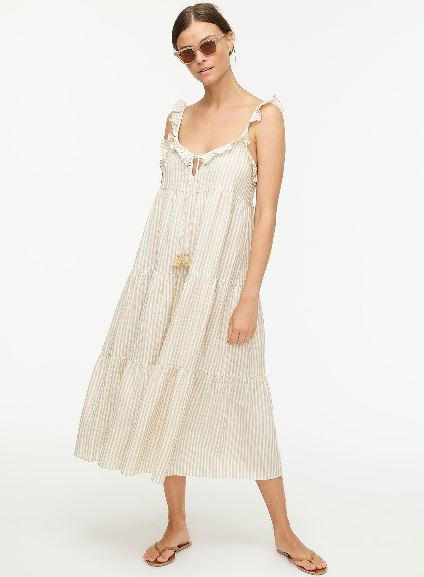 J.Crew Cotton Linen Tiered Maxi Dress