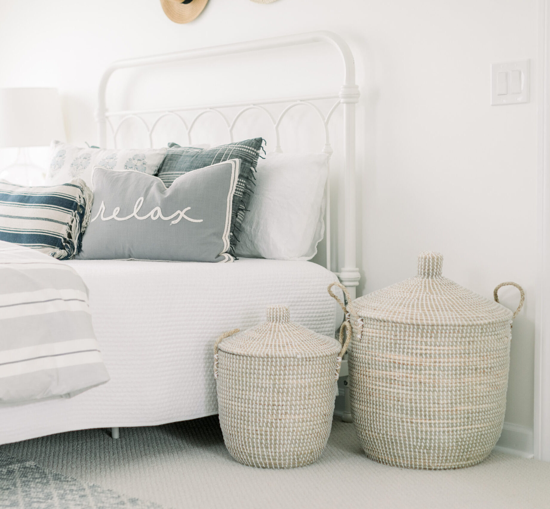 Weekly Finds and So Many Good Sales with Set of 2 Seagrass Baskets with Lids by Lauren McBride inside the bedroom