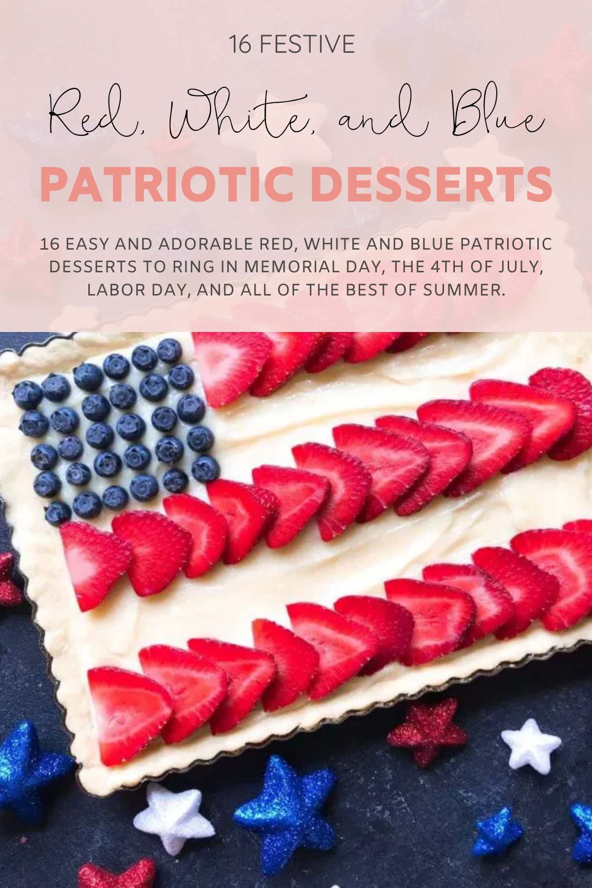 16 easy and adorable Red, White and Blue Patriotic Recipes ... the best festive food, treats, drinks, and more, to ring in Memorial Day, the 4th of July, and all of the best of summer. Red White and Blue Dessert Mini Fruit Pizzas | @glitterinclexi | GLITTERINC.COM