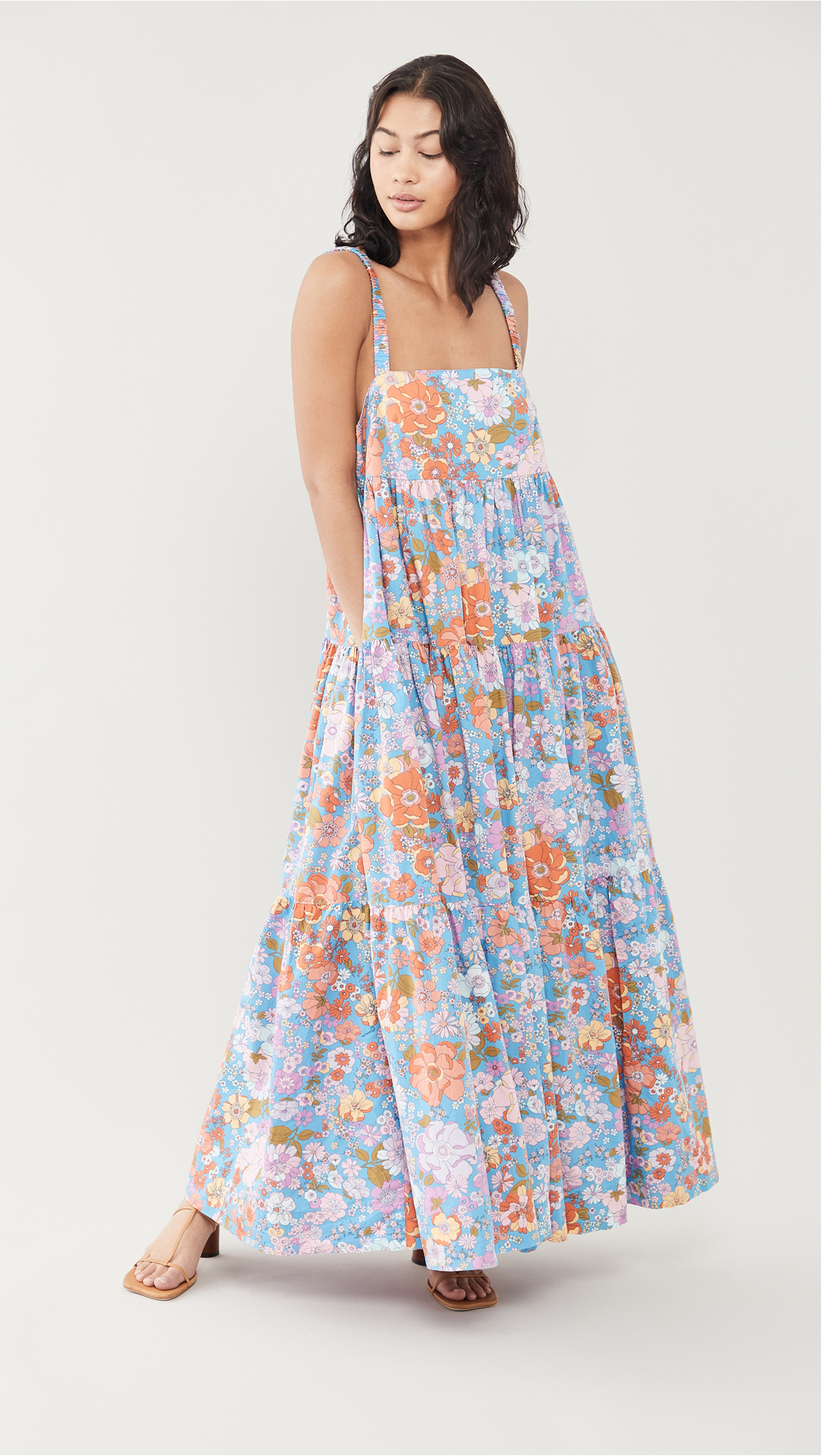 woman wearing Free People Park Slope Maxi floral Dress for Weekly Finds and So Many Good Sales